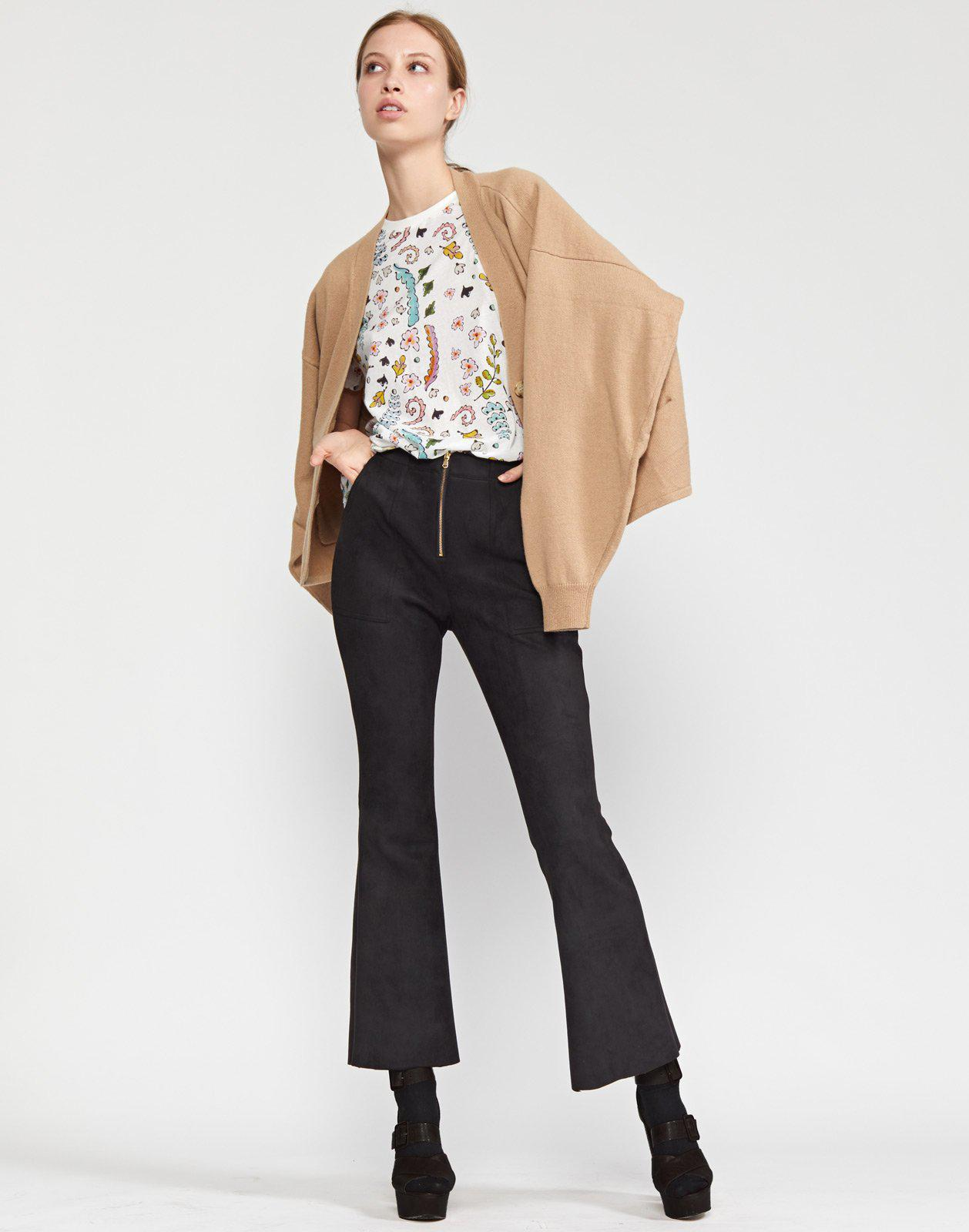 Nadia Stretch Faux-suede Flared Pant 0