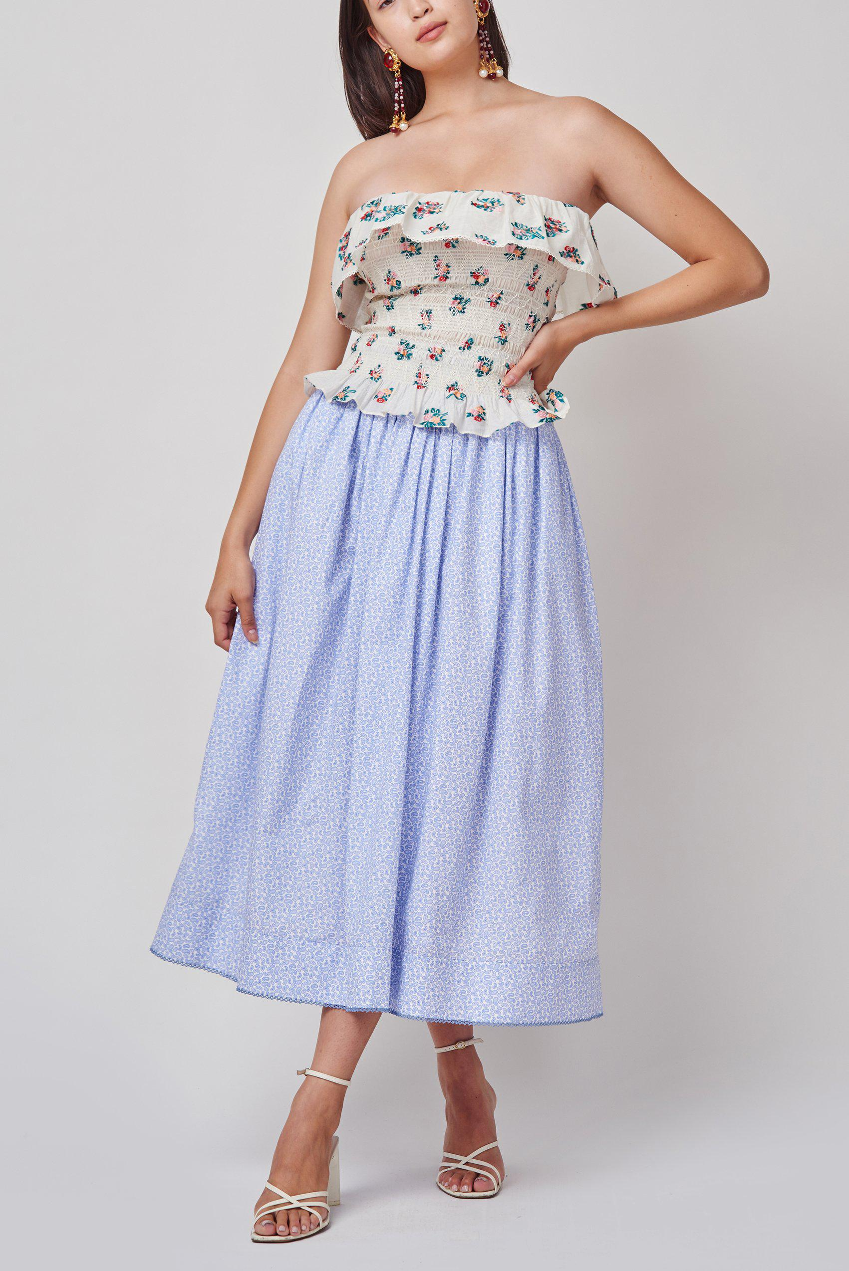 Ash Blue Paisley Skirt with Pointed Waist and Crochet Trim