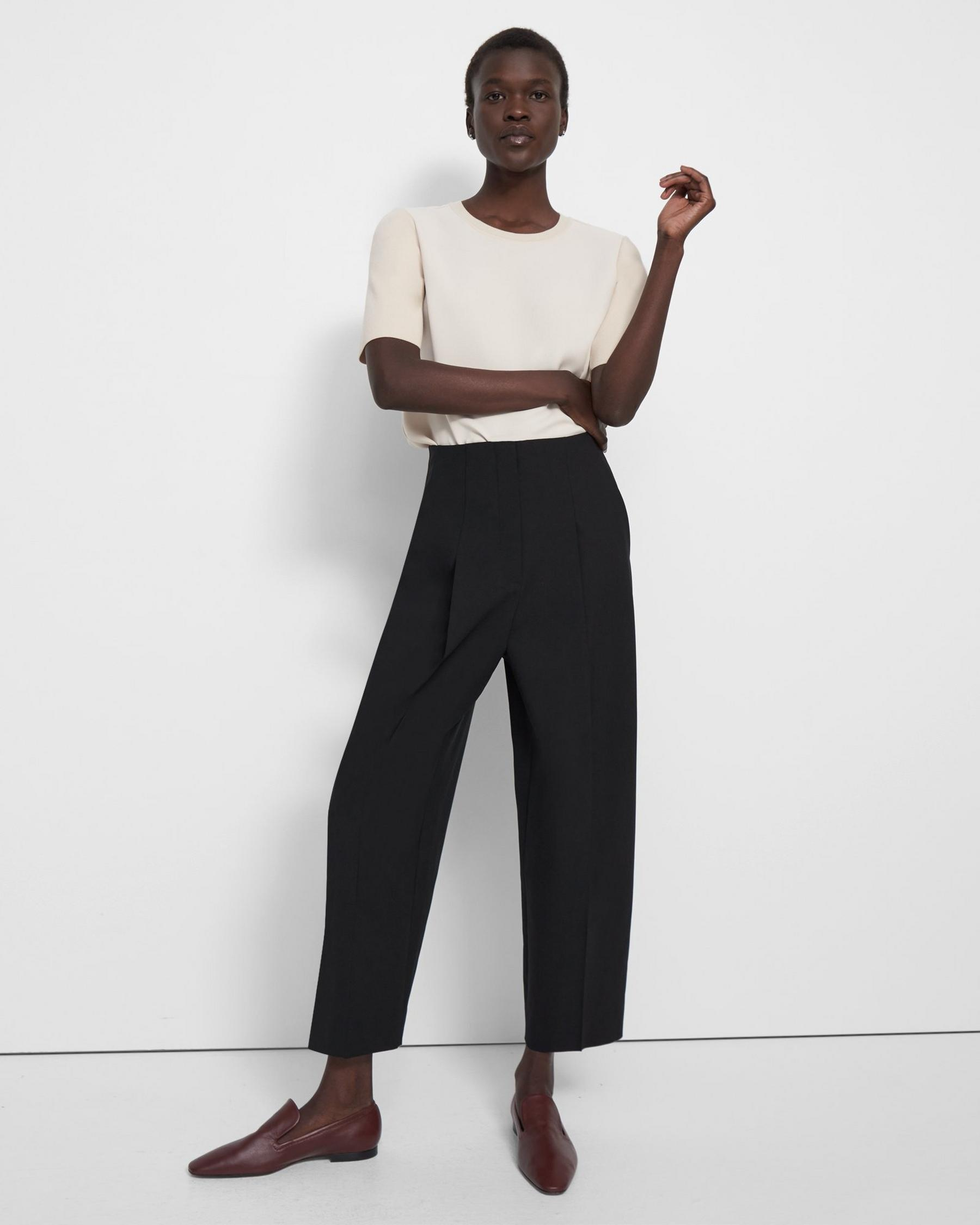 Pleated Carrot Pant in Good Wool