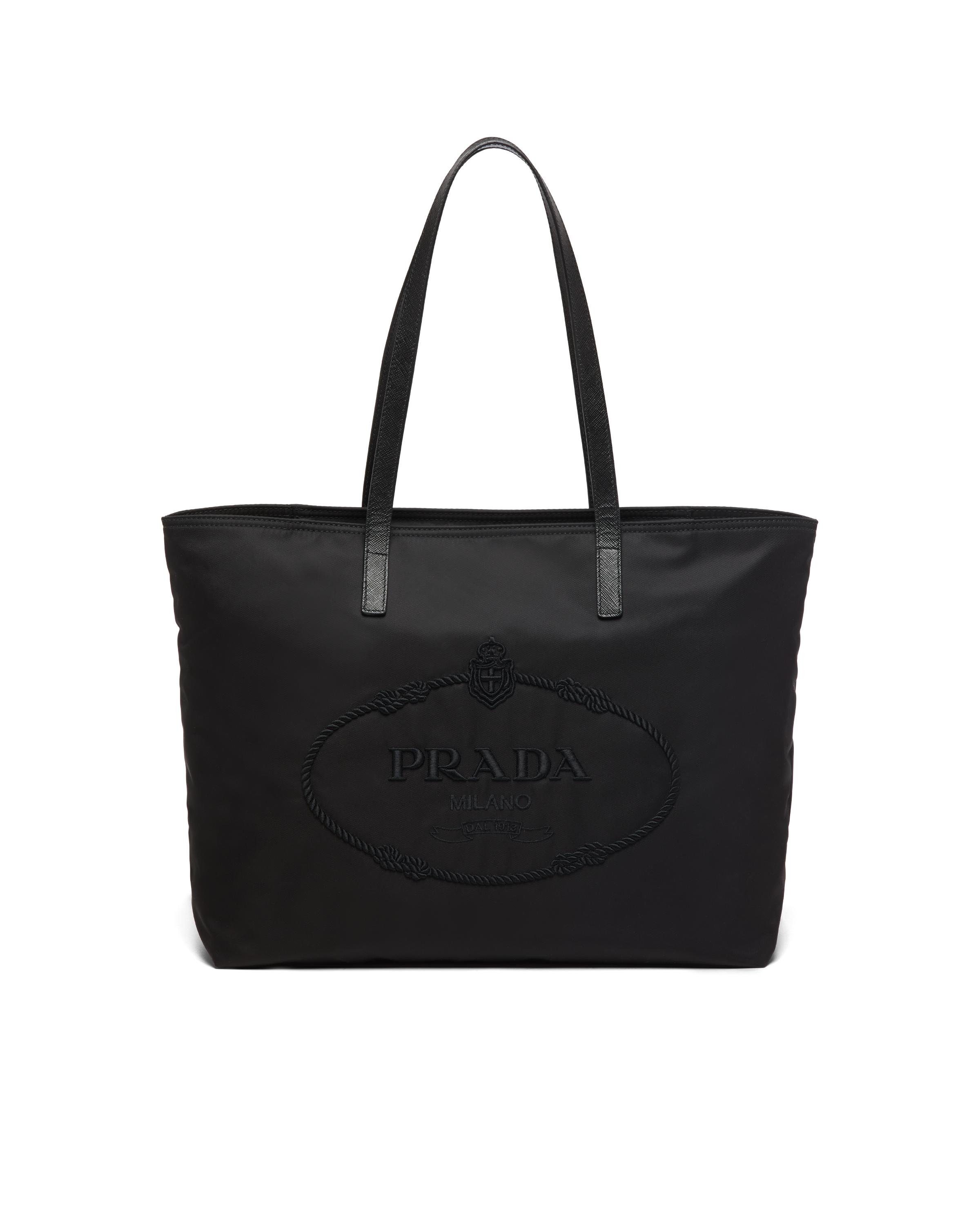Nylon Tote With Embroidered Logo Women Black 5