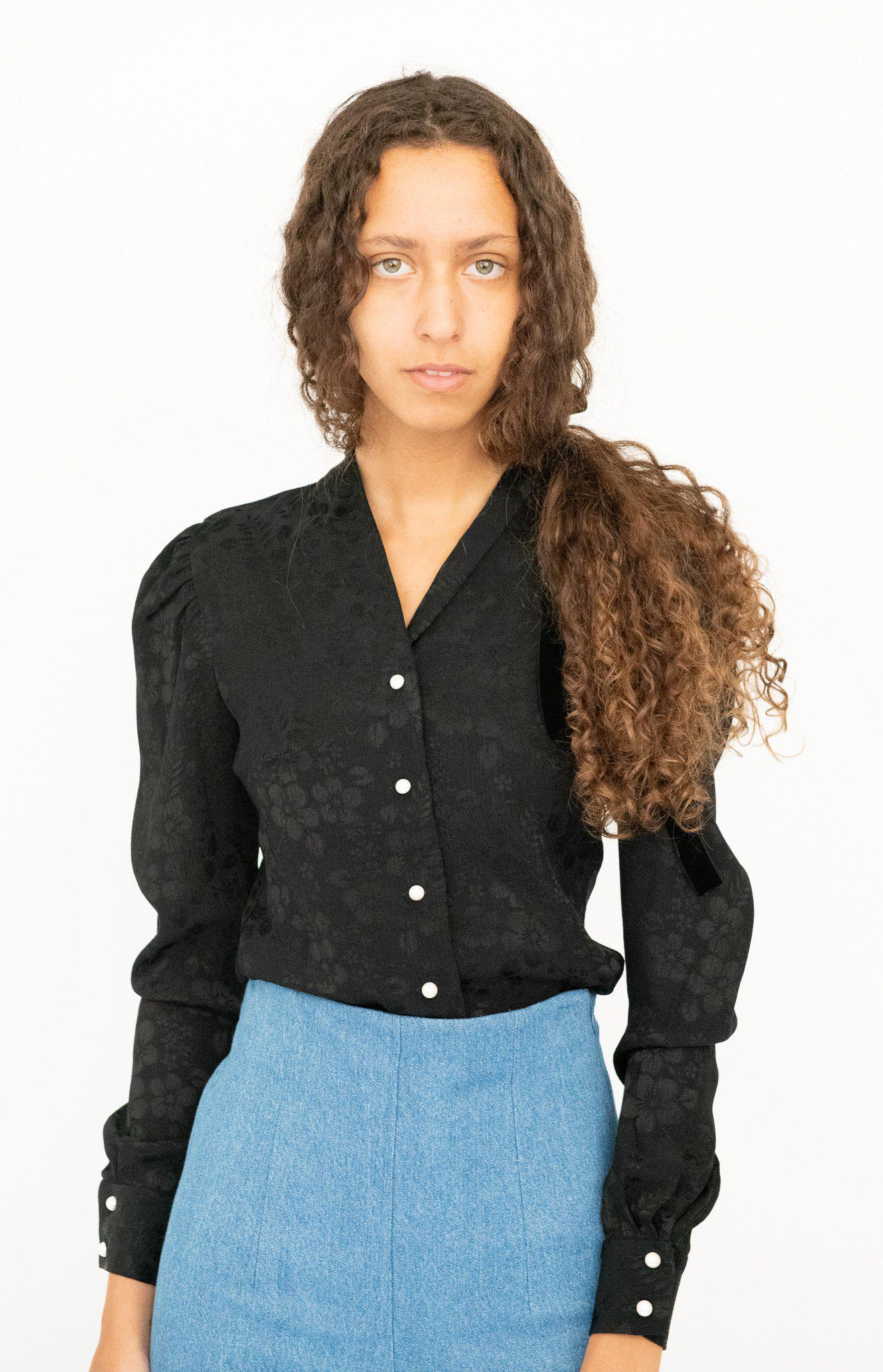 Suffrage Blouse in Black Floral Jacquard 3