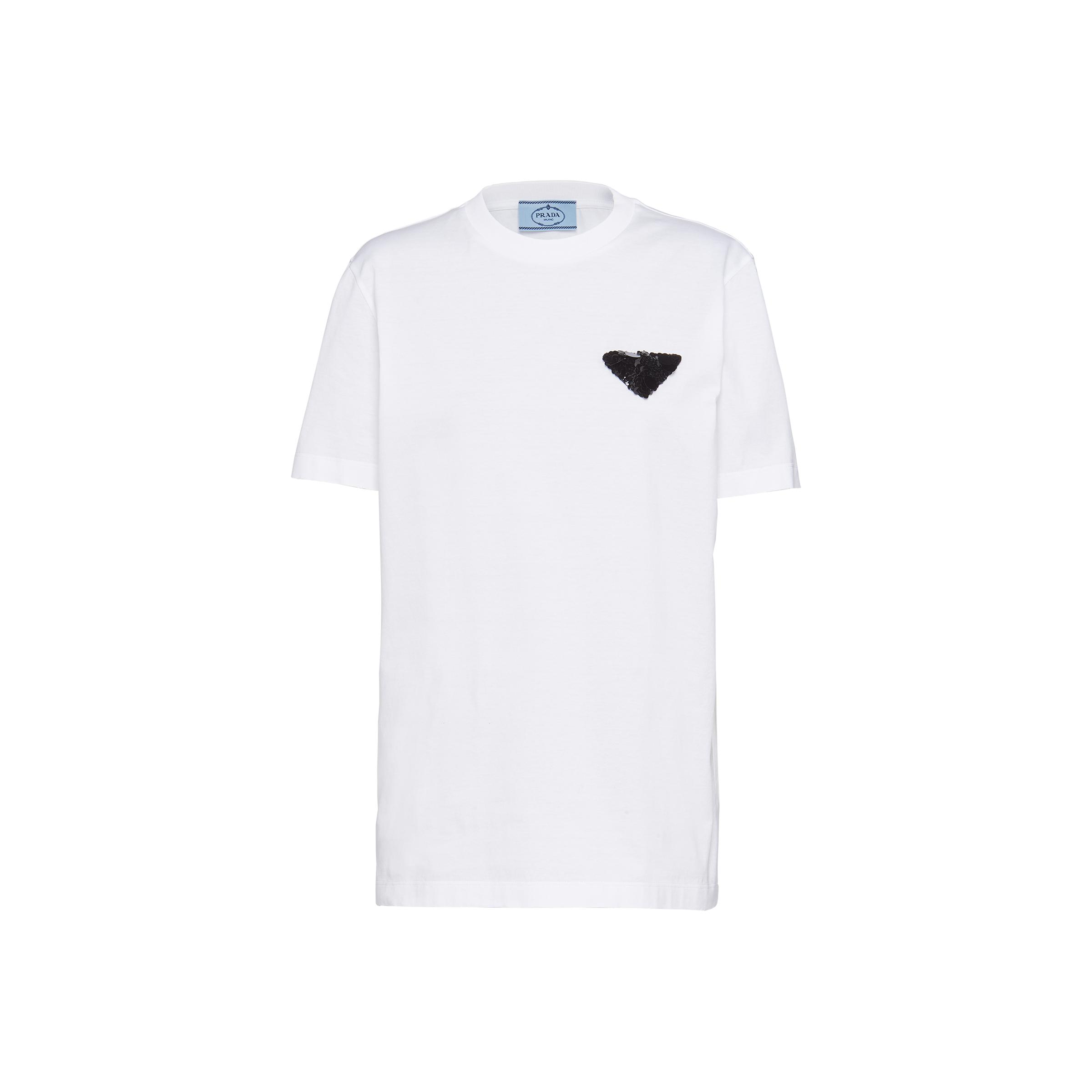 Embroidered Jersey T-shirt Women White/black