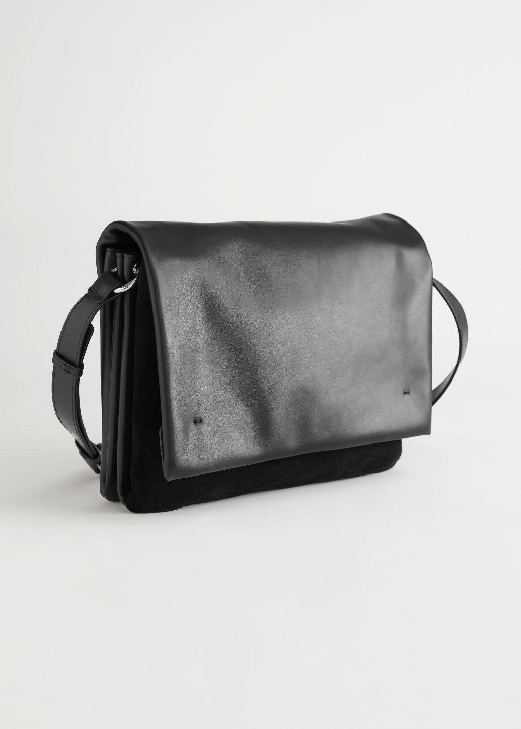 Suede Panel Leather Crossbody Bag