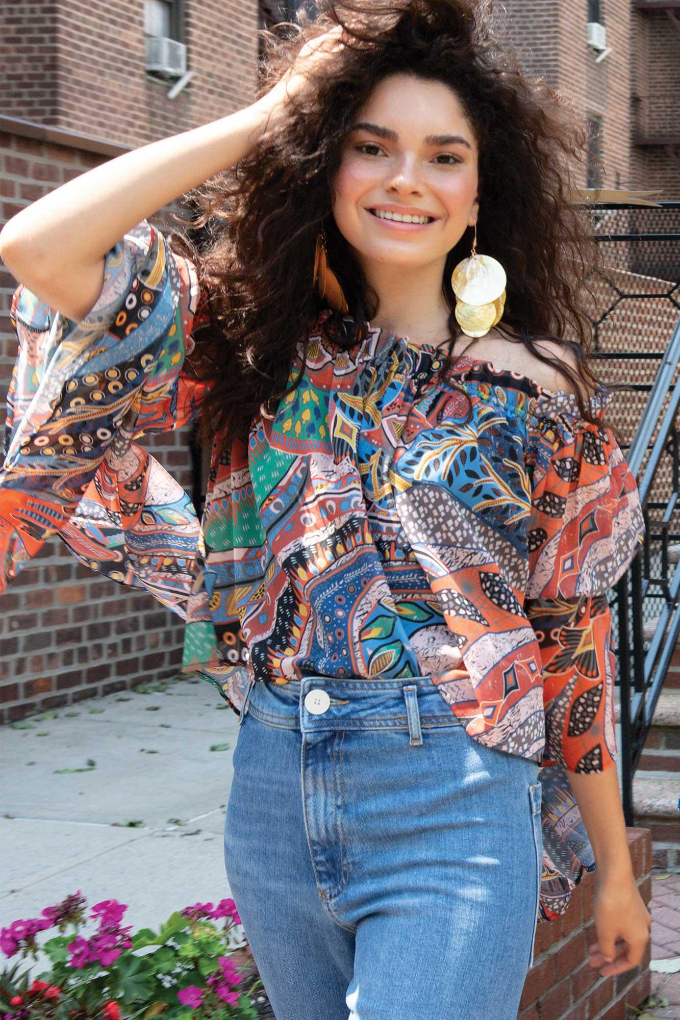 Ethnic Print Brittney Off The Shoulder Bell Sleeve Top