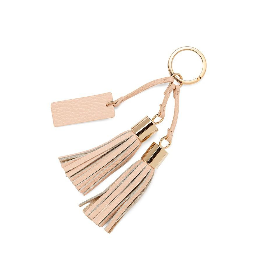 Women's Leather Tassel Keychain in Blush Pink | Pebbled Leather by Cuyana