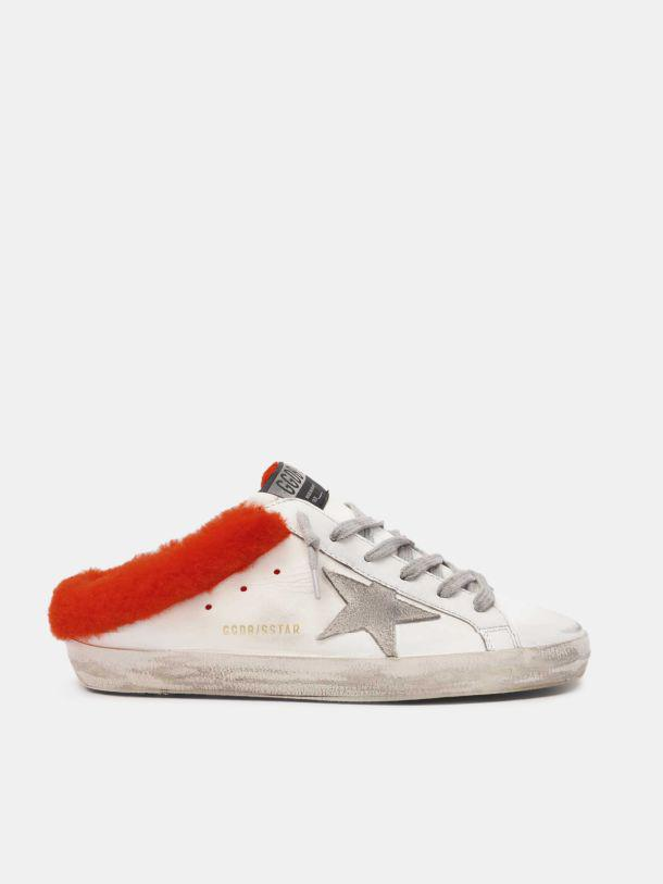 Limited edition Super-Star Sabot in white leather with fluo orange shearling padding