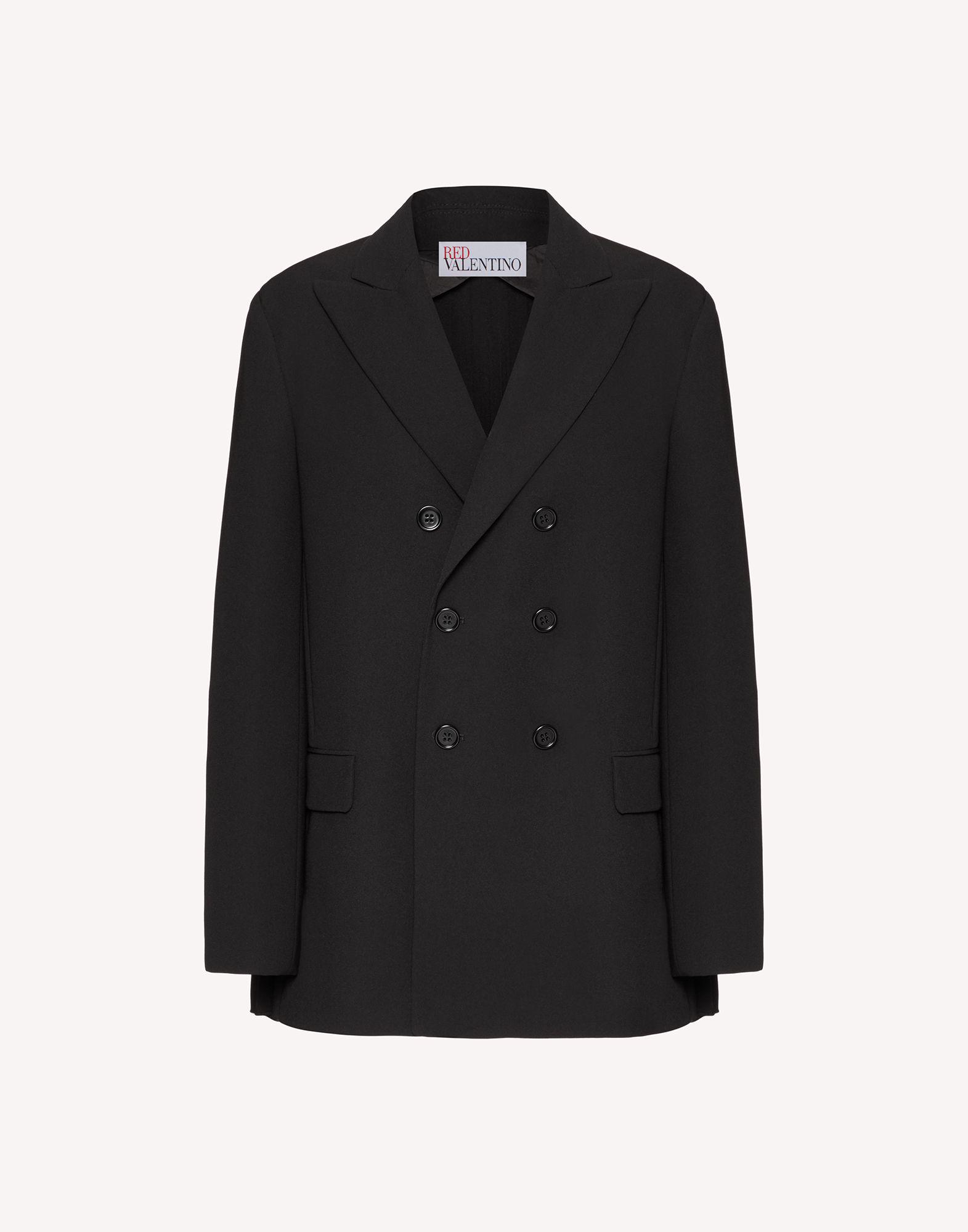 STRETCH CADY DOUBLE-BREASTED JACKET WITH PLEATED DETAIL 4