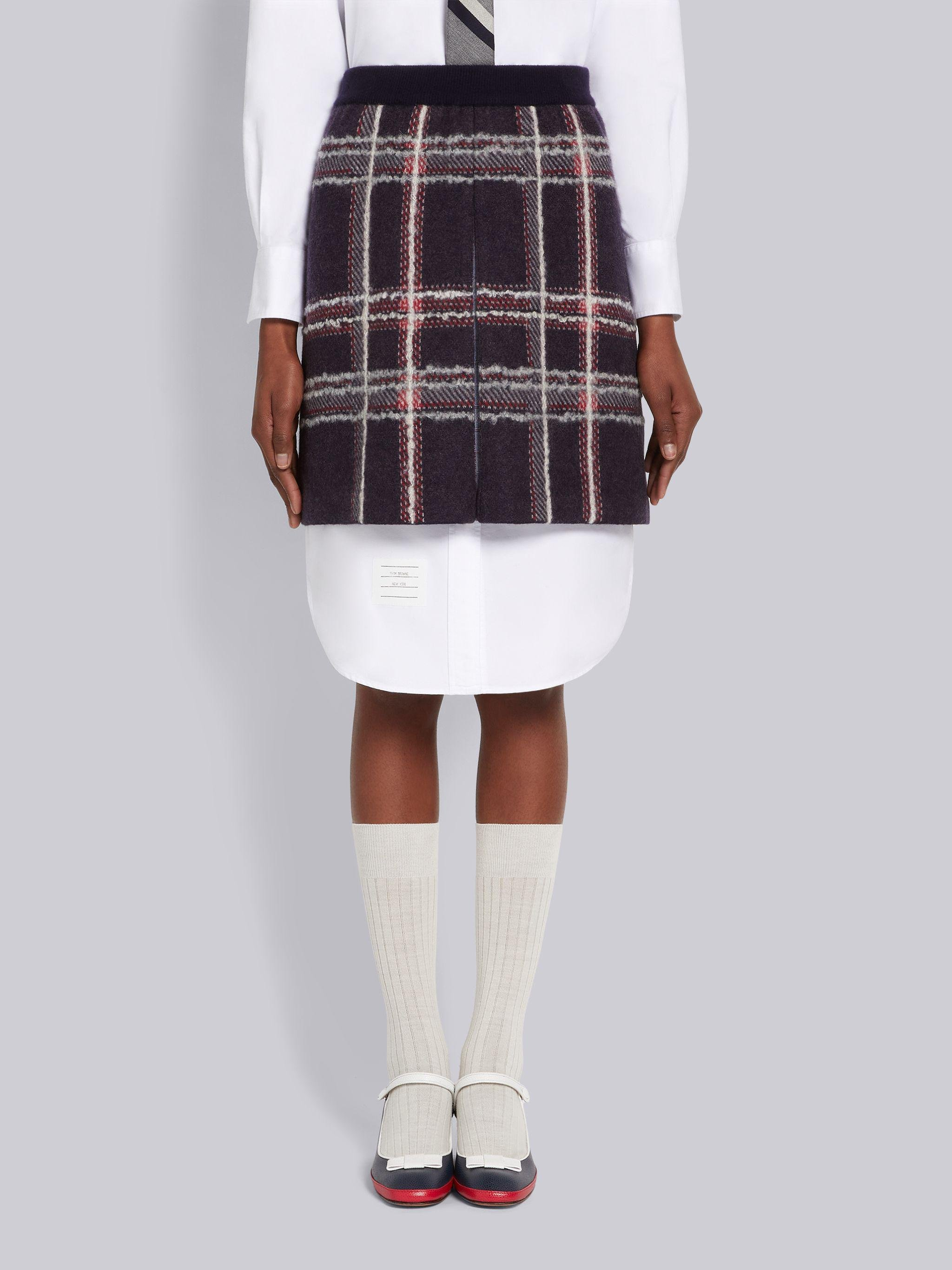 Multicolor Hairline Madras Check Jacquard Boiled Wool Box Pleat Inlay Miniskirt