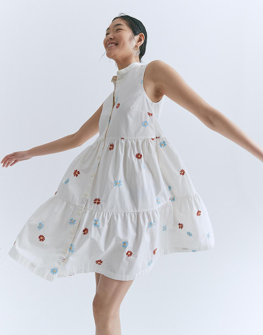 Daisy Embroidered Banded-Collar Tiered Dress 3