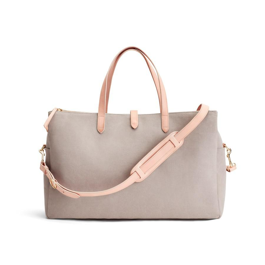 Women's Triple Zipper Weekender Bag in Soft Grey/Natural | Organic Canvas/Smooth Leather by Cuyana