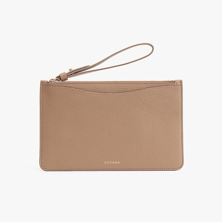 Women's Slim Wristlet Wallet in Cappuccino | Pebbled Leather by Cuyana 1