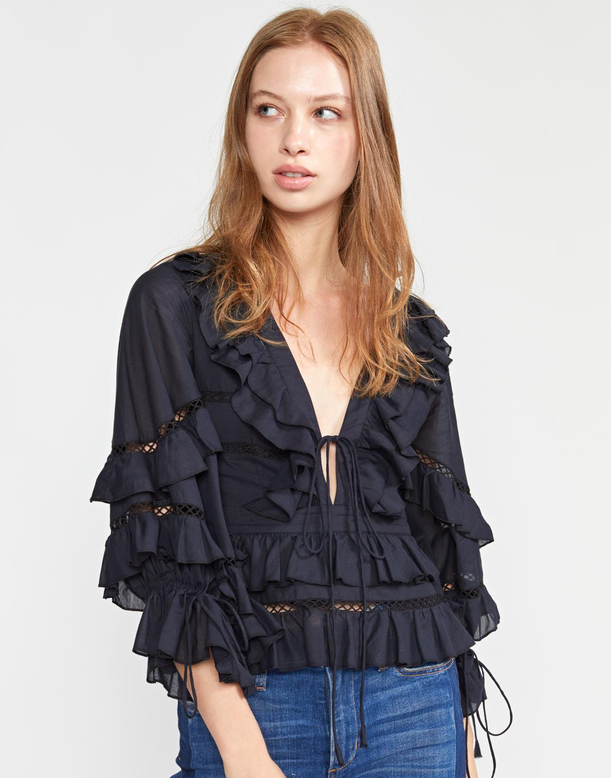 Stella Tie Front Tiered Blouse 2