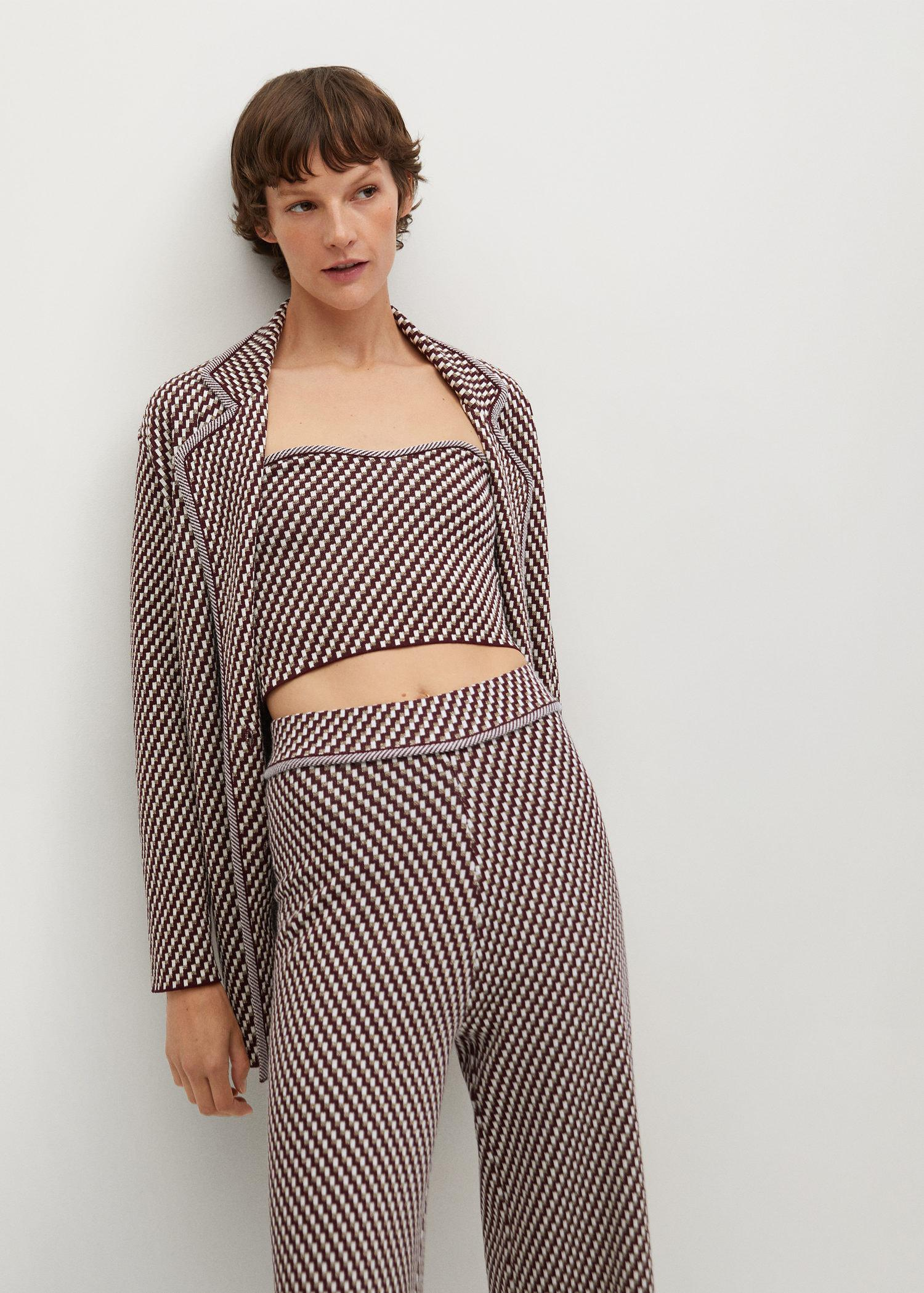 Knitted pants with geometric print 3