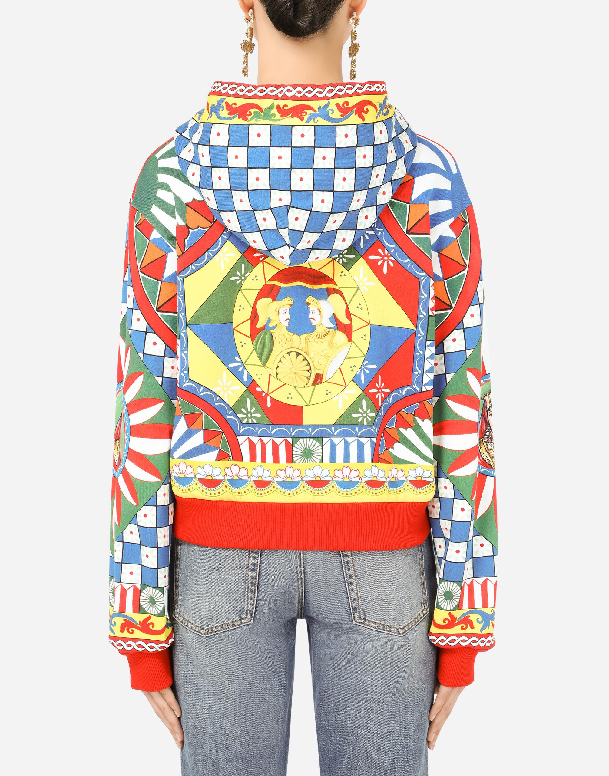 Cropped jersey hoodie with Carretto print 1