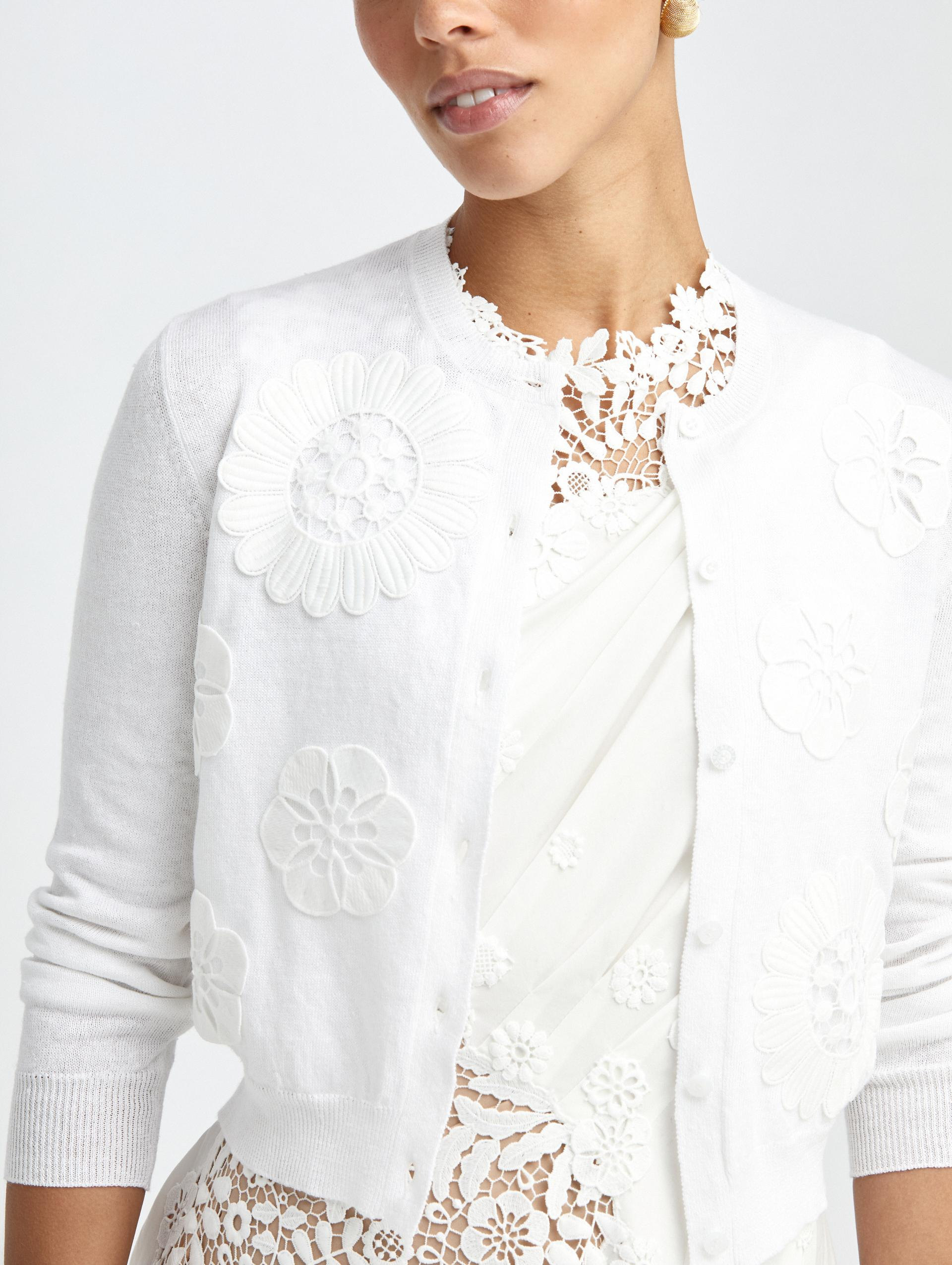 EMBROIDERED IVORY KNIT CARDIGAN 3