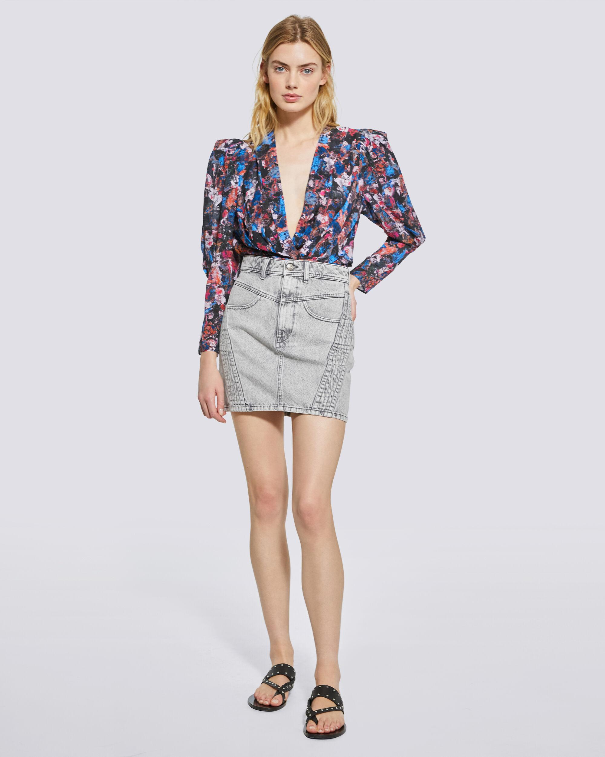 FORWIE FLORAL PRINTED DRAPED TOP 1