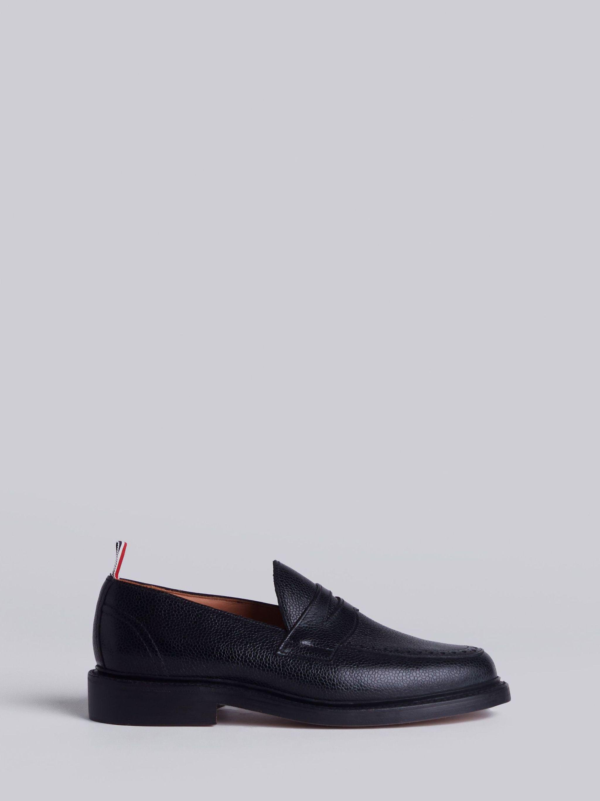 Penny Loafer With Leather Sole In Black Pebble Grain