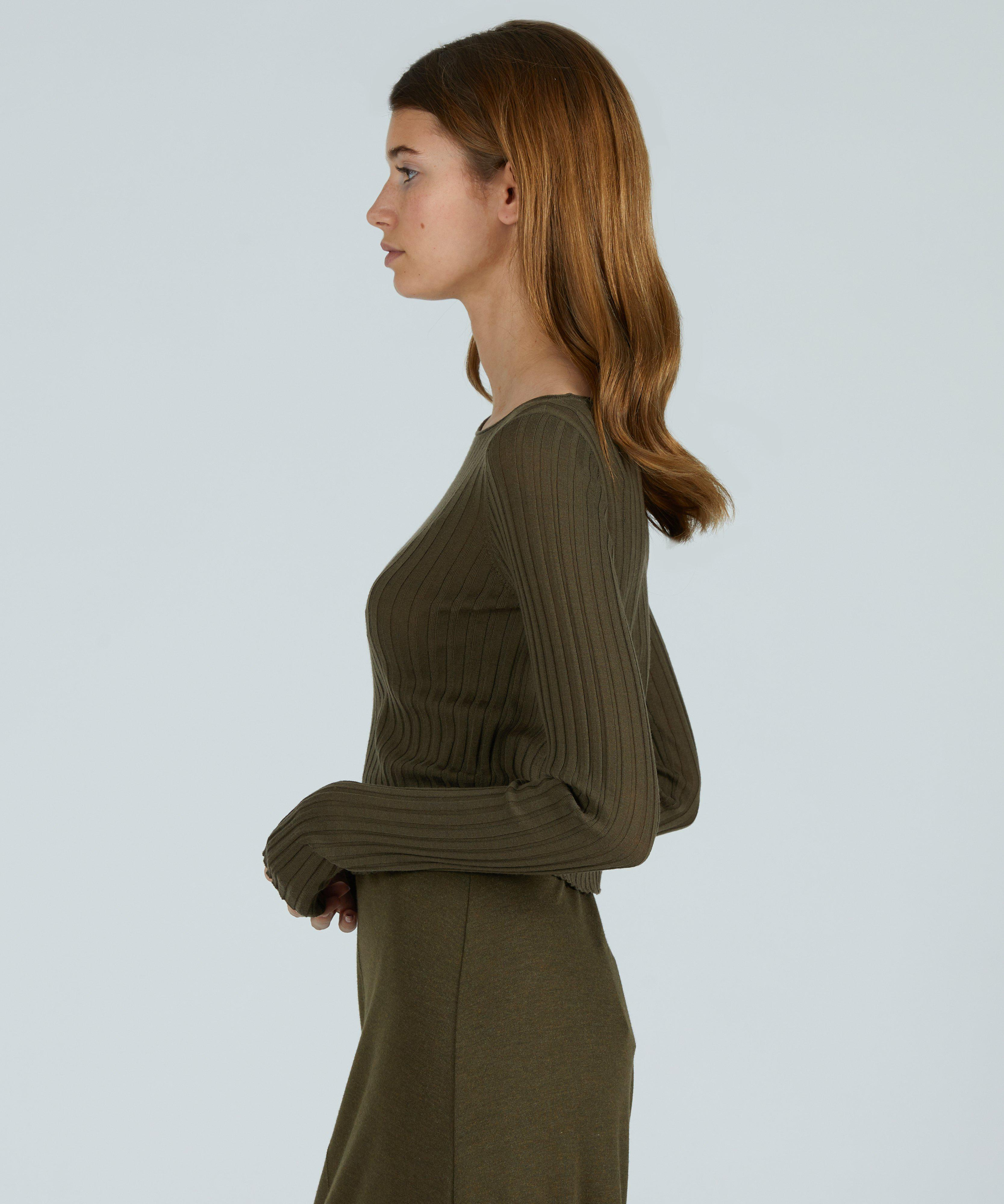 Wide Rib Cropped Boat Neck Sweater - Olive Heather 1