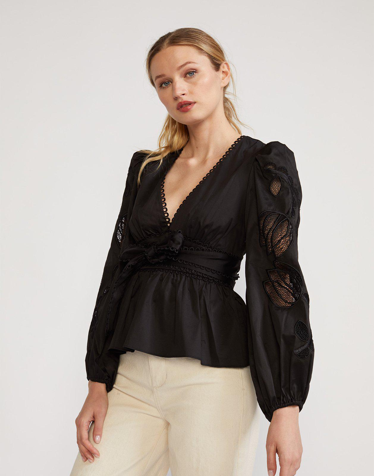 Tulip Lace Embroidered Cotton Blouse