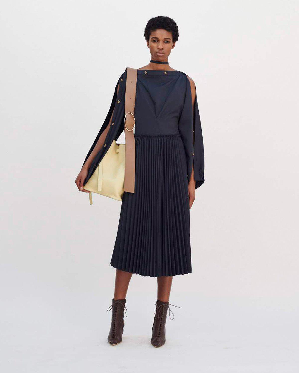 Elise Dress Wool Suiting Charcoal
