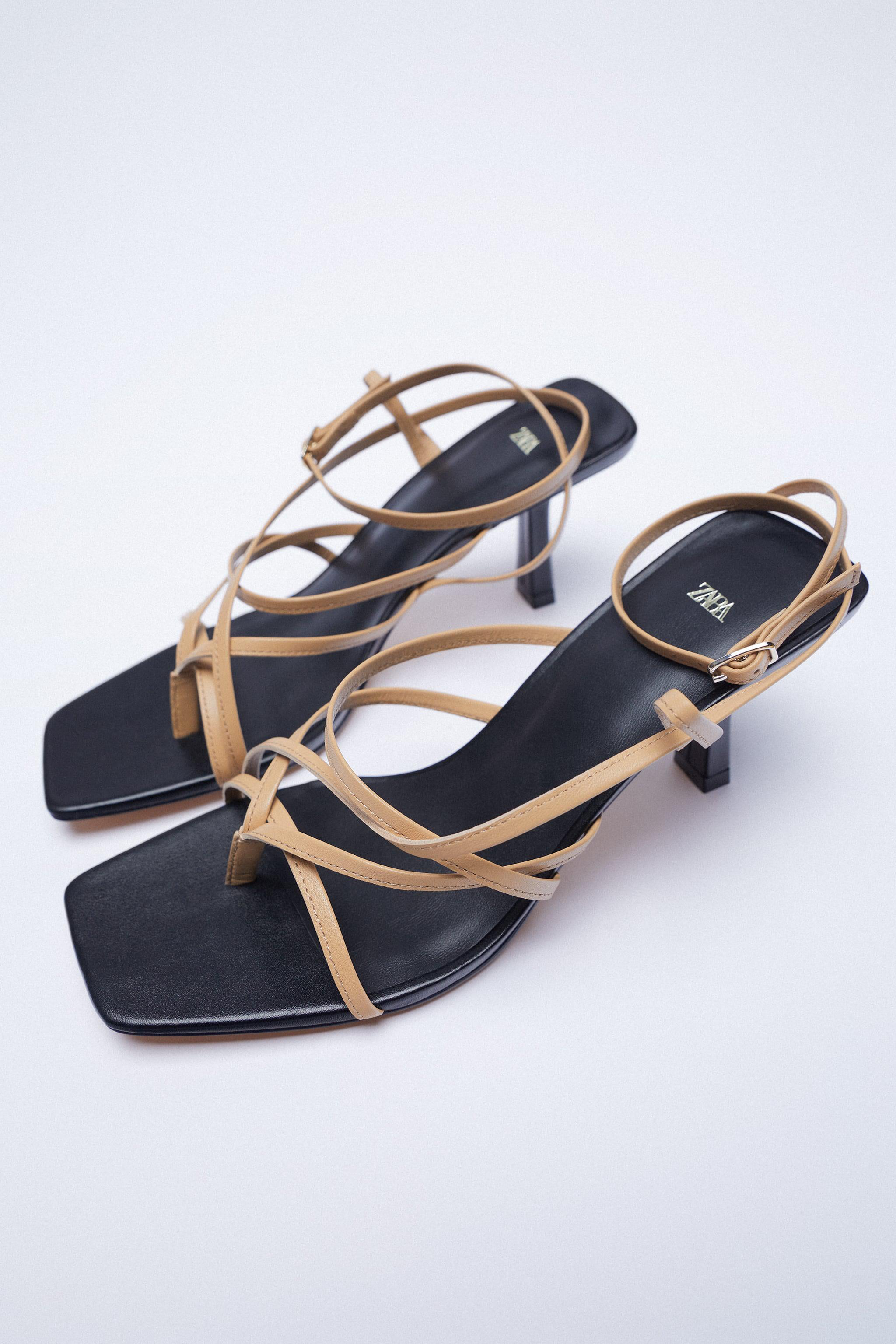 LEATHER HIGH HEELED STRAPPY SANDALS 4