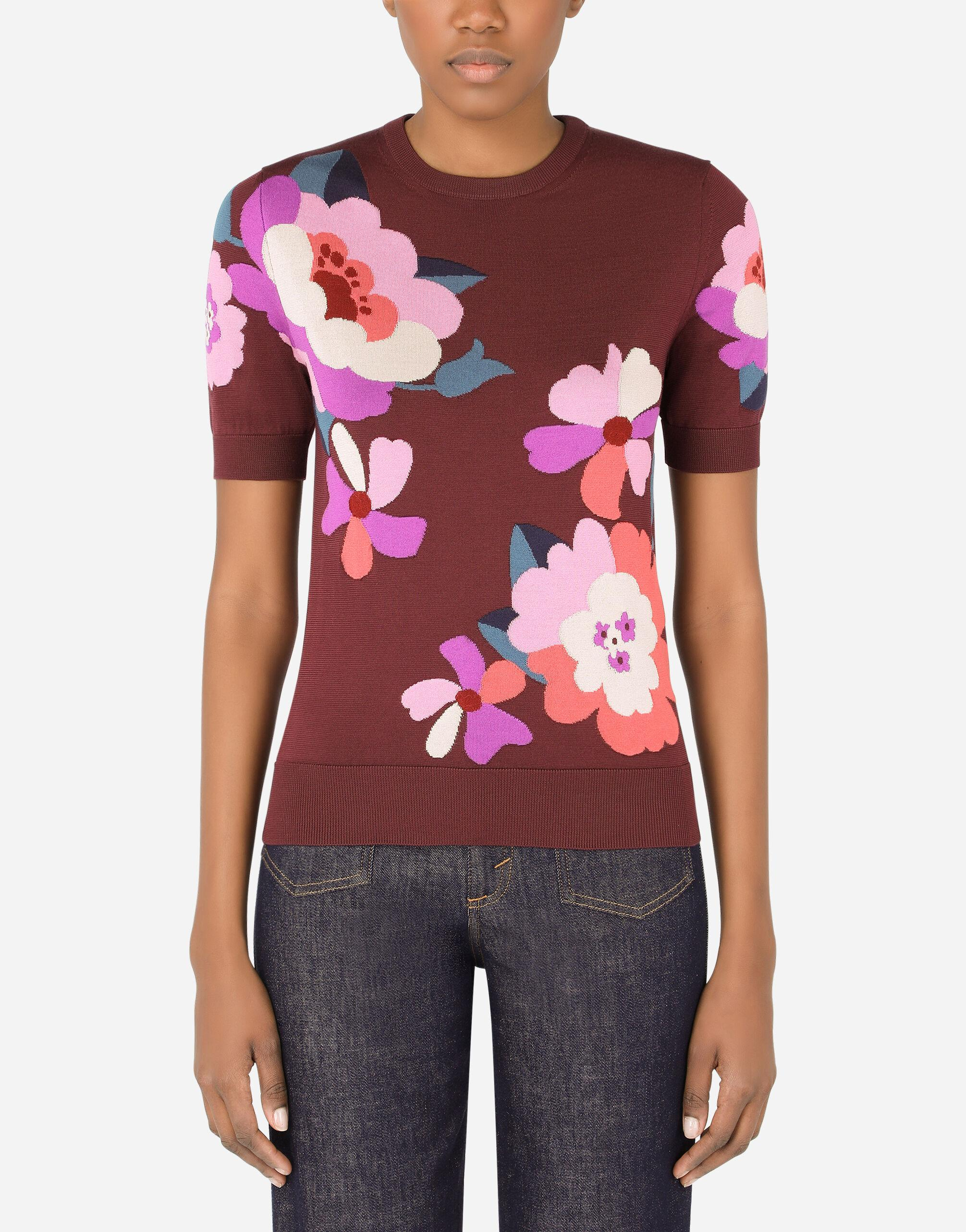 Short-sleeved silk sweater with floral intarsia