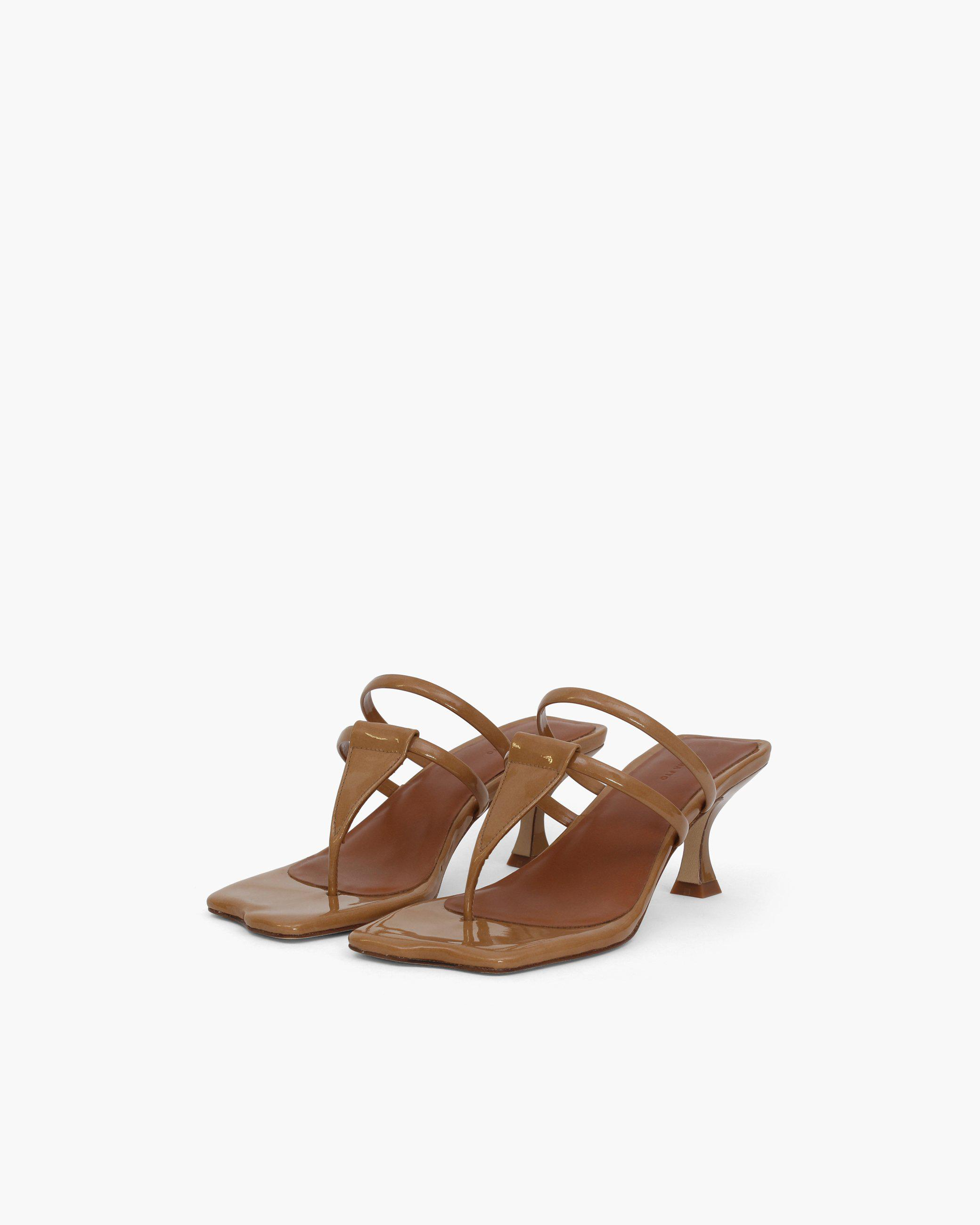 Allie Sandals Patent Leather Brown 1