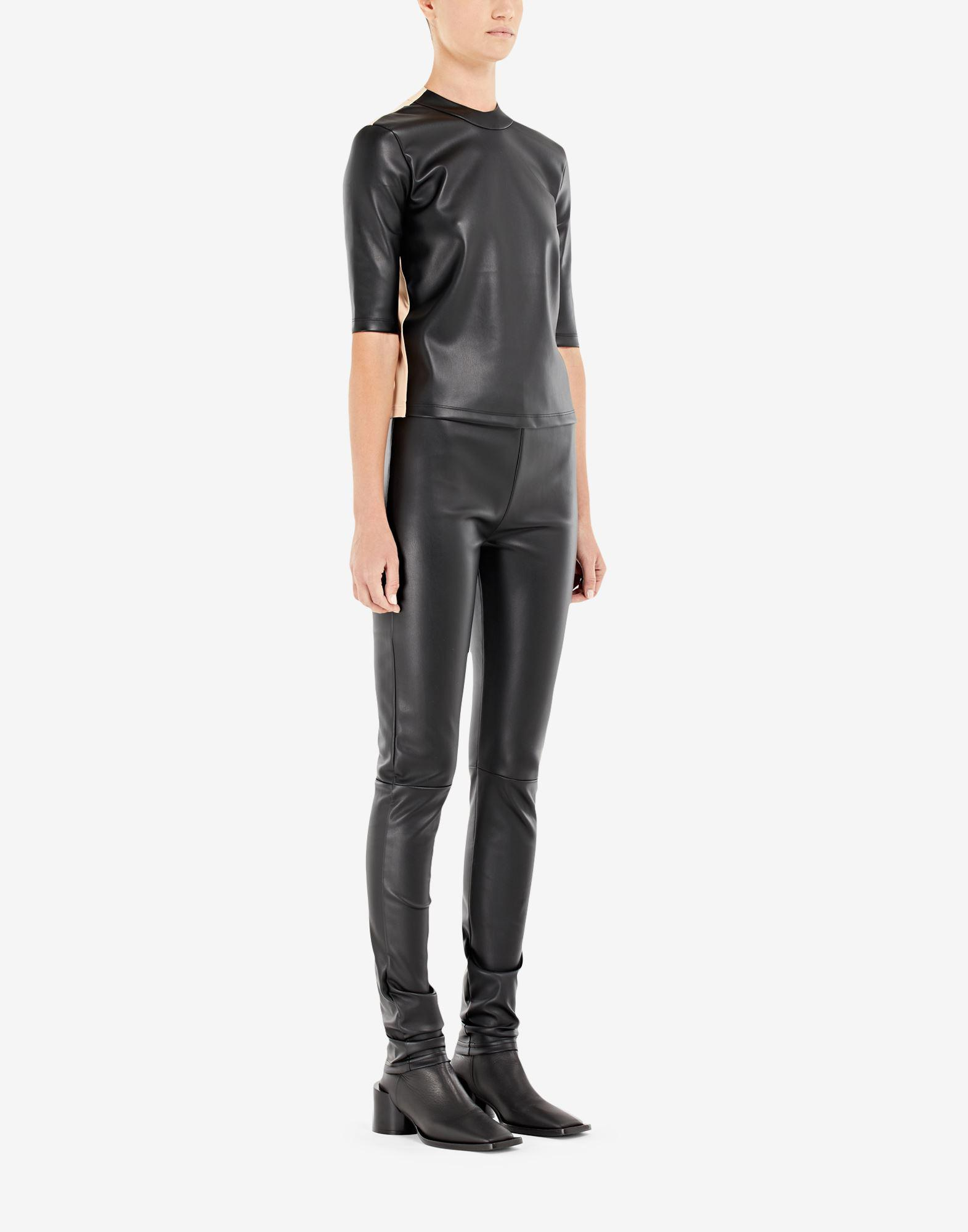 Spliced faux leather top 1