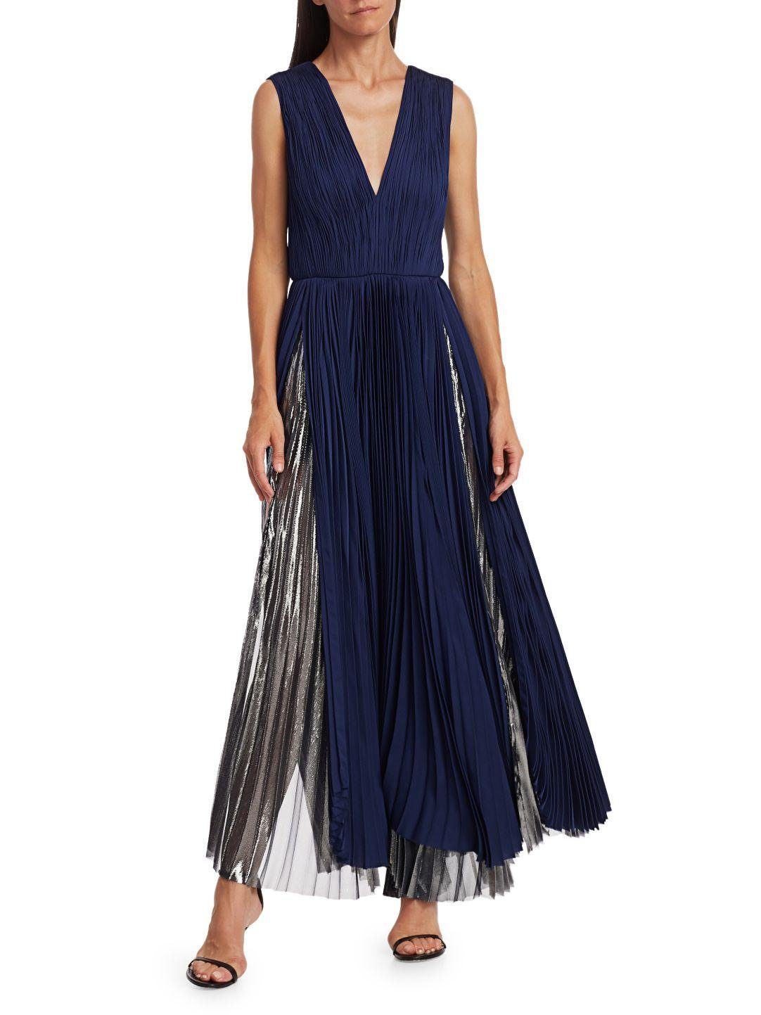 PLEATED METALLIC GOWN 4