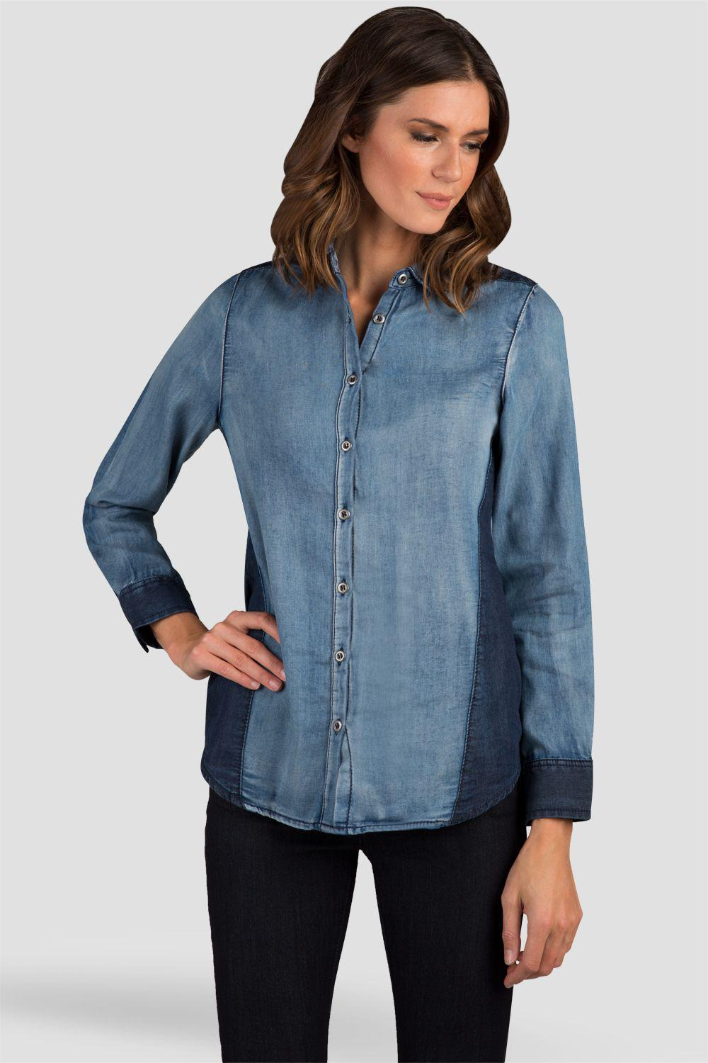 Laney Two Toned Chambray Denim Button Front Shirts