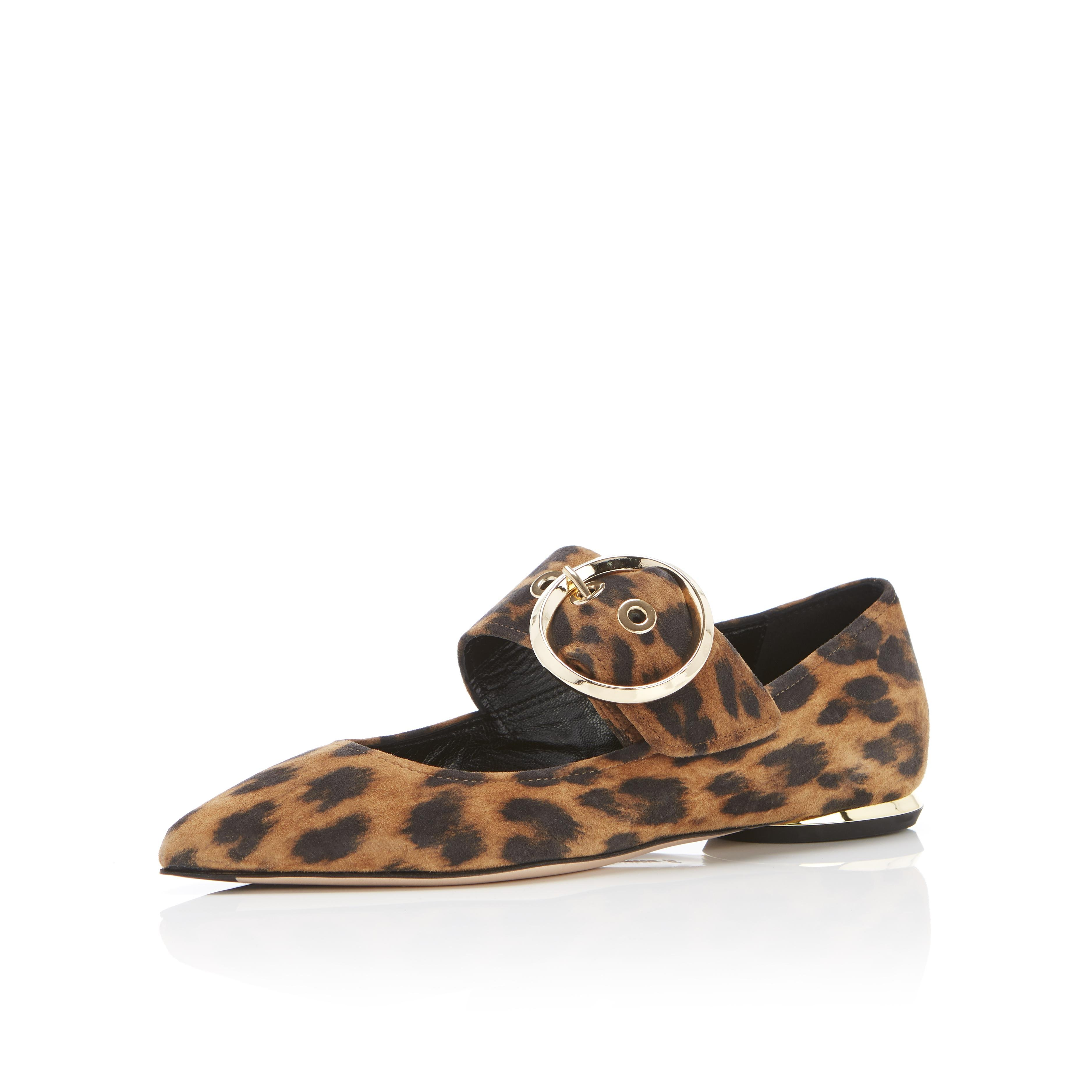 Nina | Leopard Print Suede Pointy Toe Mary Jane Flat With Buckle 1