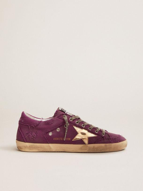Super-Star Penstar LAB sneakers in purple distressed canvas with gold laminated leather star