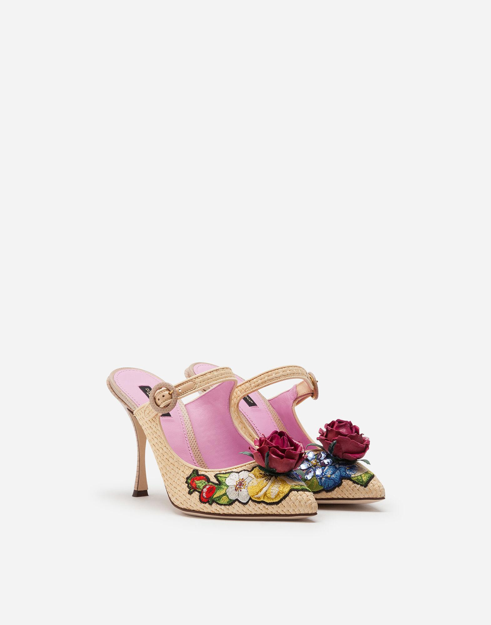 Braided raffia mules with floral embroidery 1