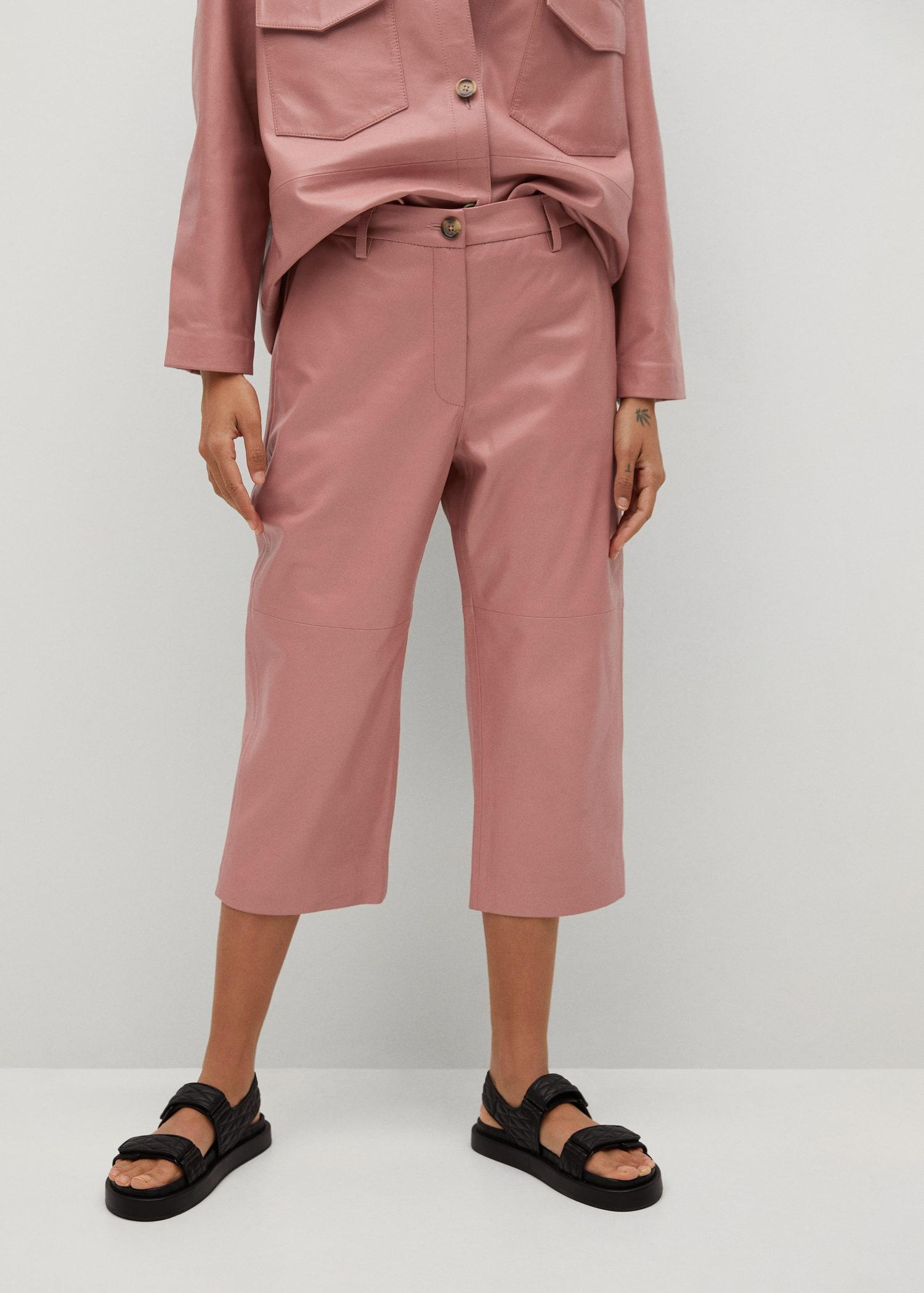 Leather culotte trouser