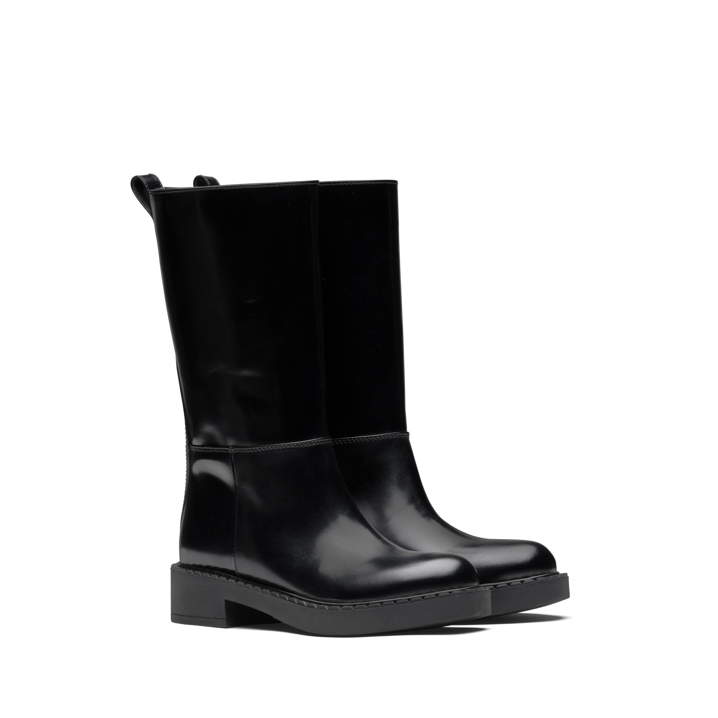 Brushed Leather Booties Women Black