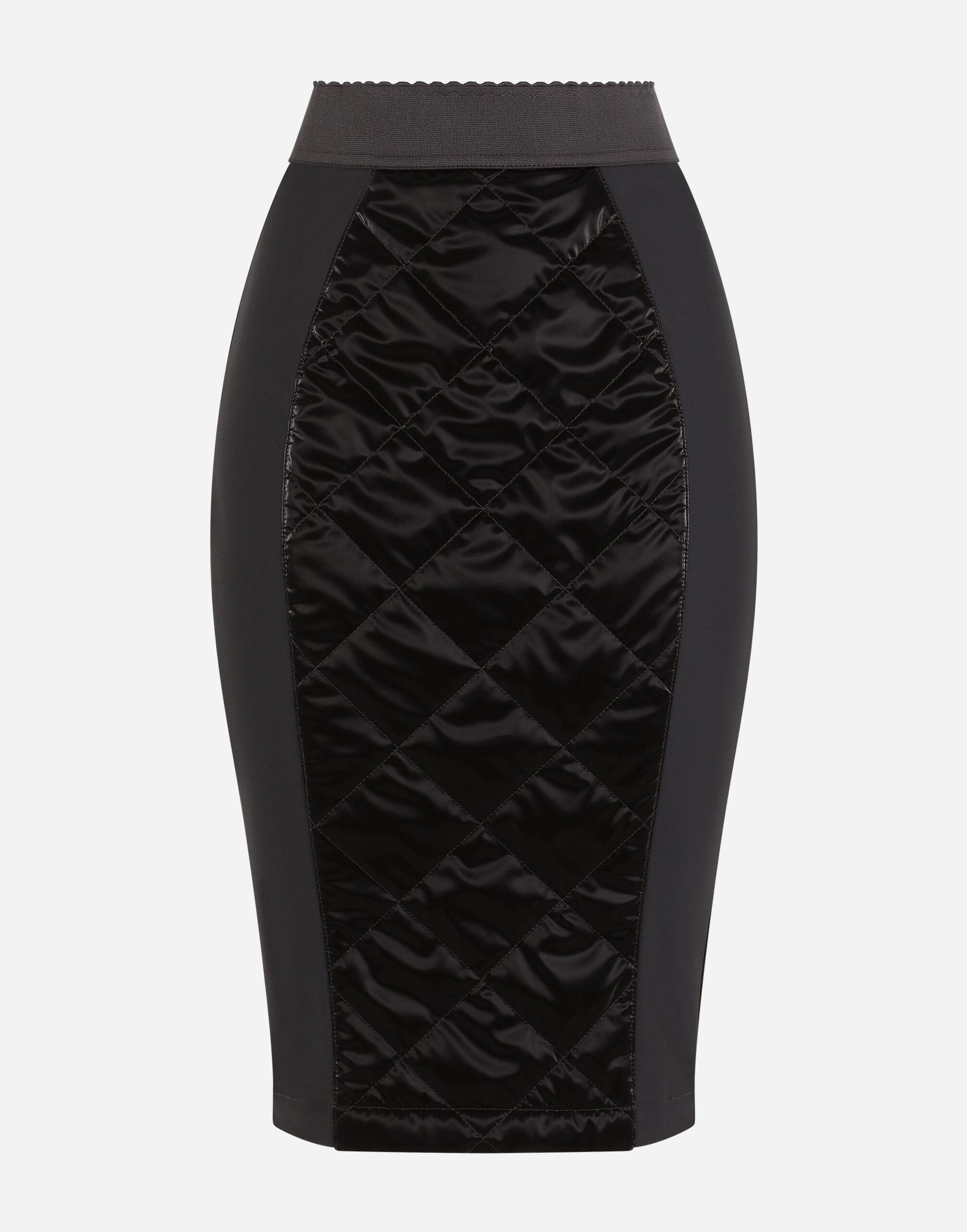 Coated quilted fabric midi skirt 3
