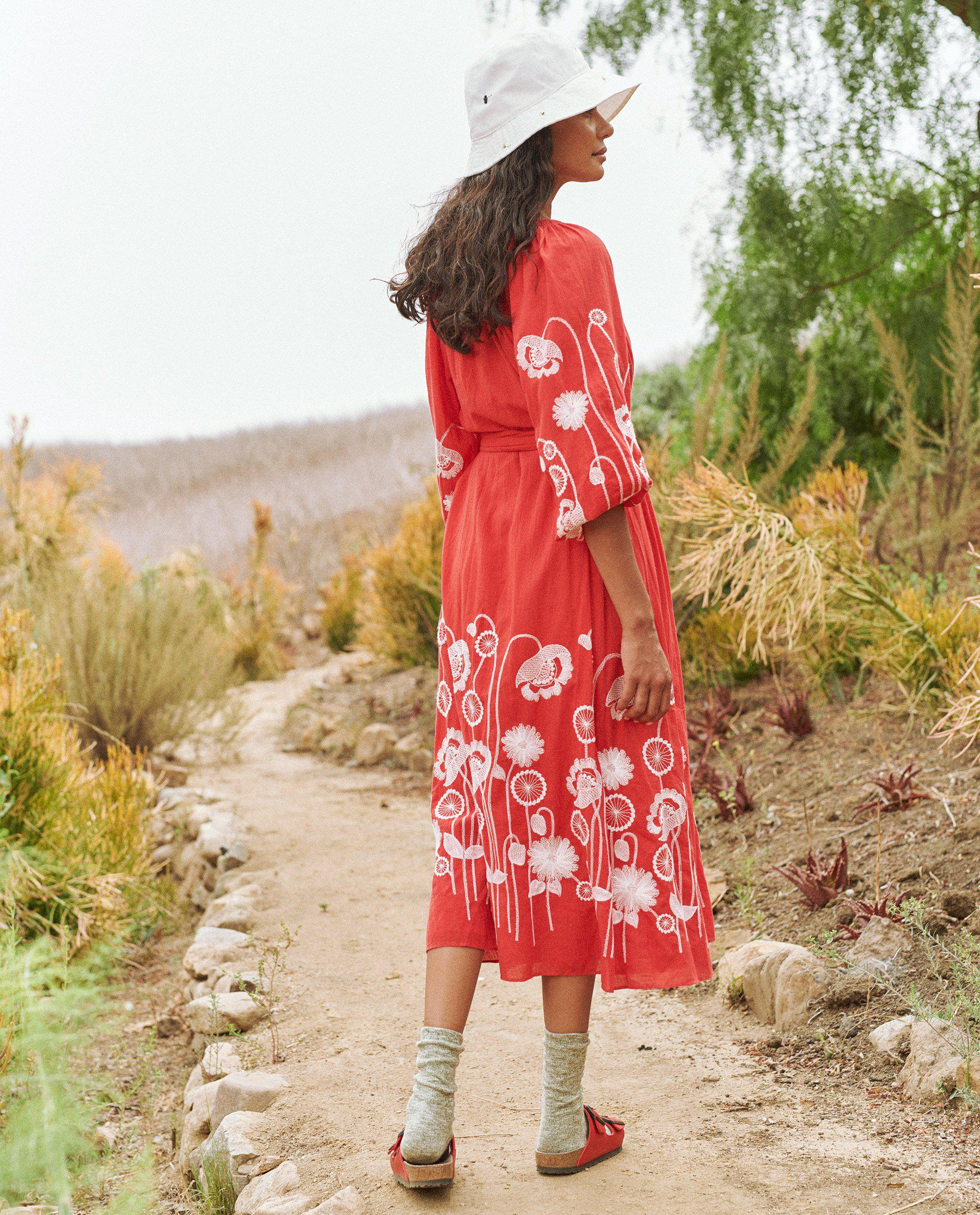 The Derby Dress. -- Cherry Red with Trellis Floral Embroidery 3
