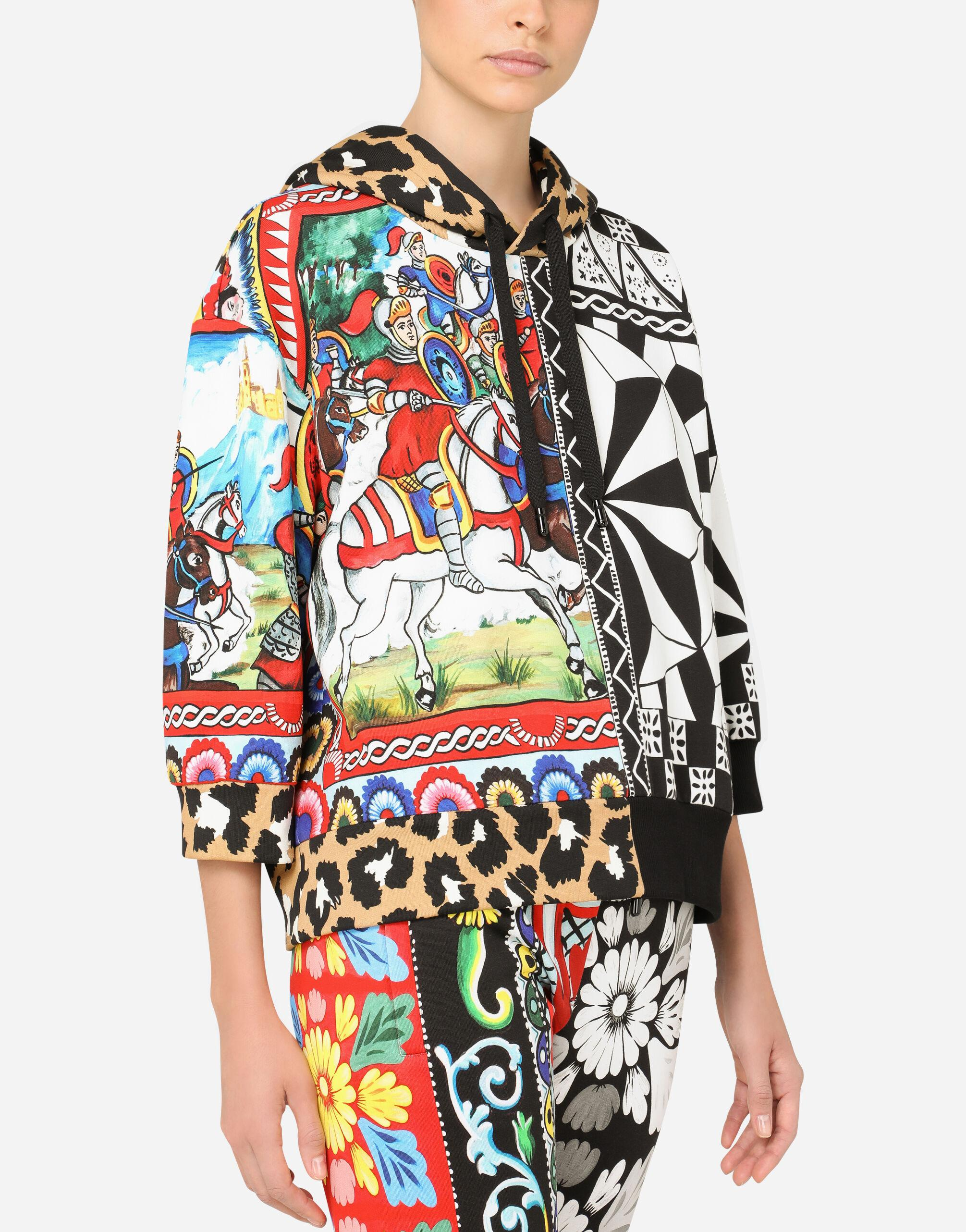 Jersey hoodie with patchwork print 2