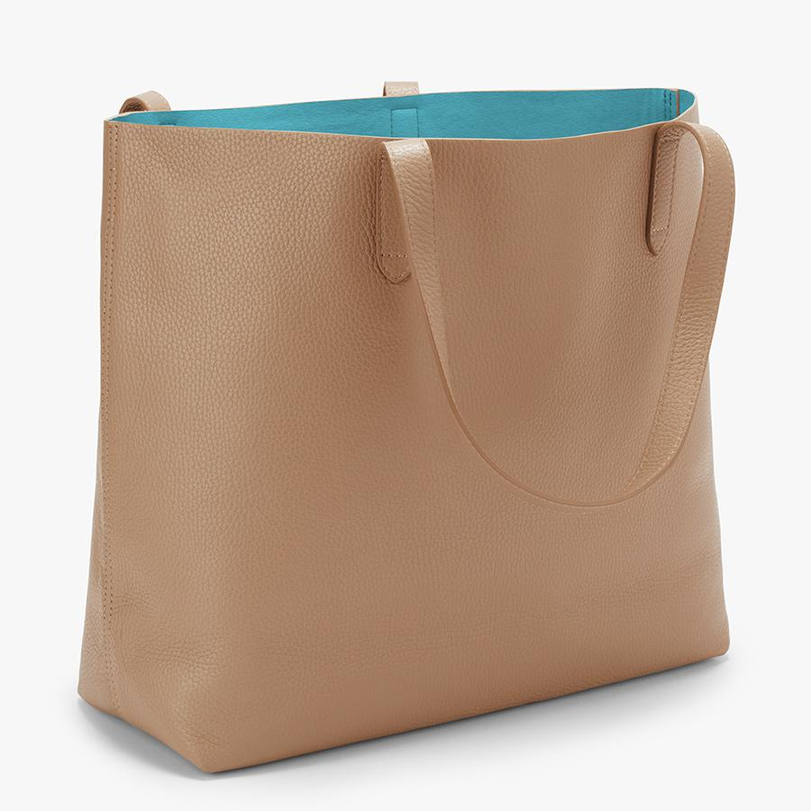 Women's Classic Structured Leather Tote Bag in Cappuccino/Blue | Pebbled Leather by Cuyana 1