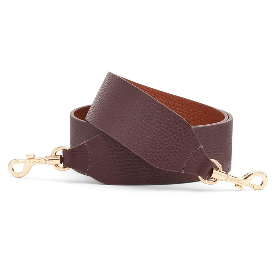 Women's Wide Strap in Burgundy/Caramel | Pebbled Leather by Cuyana