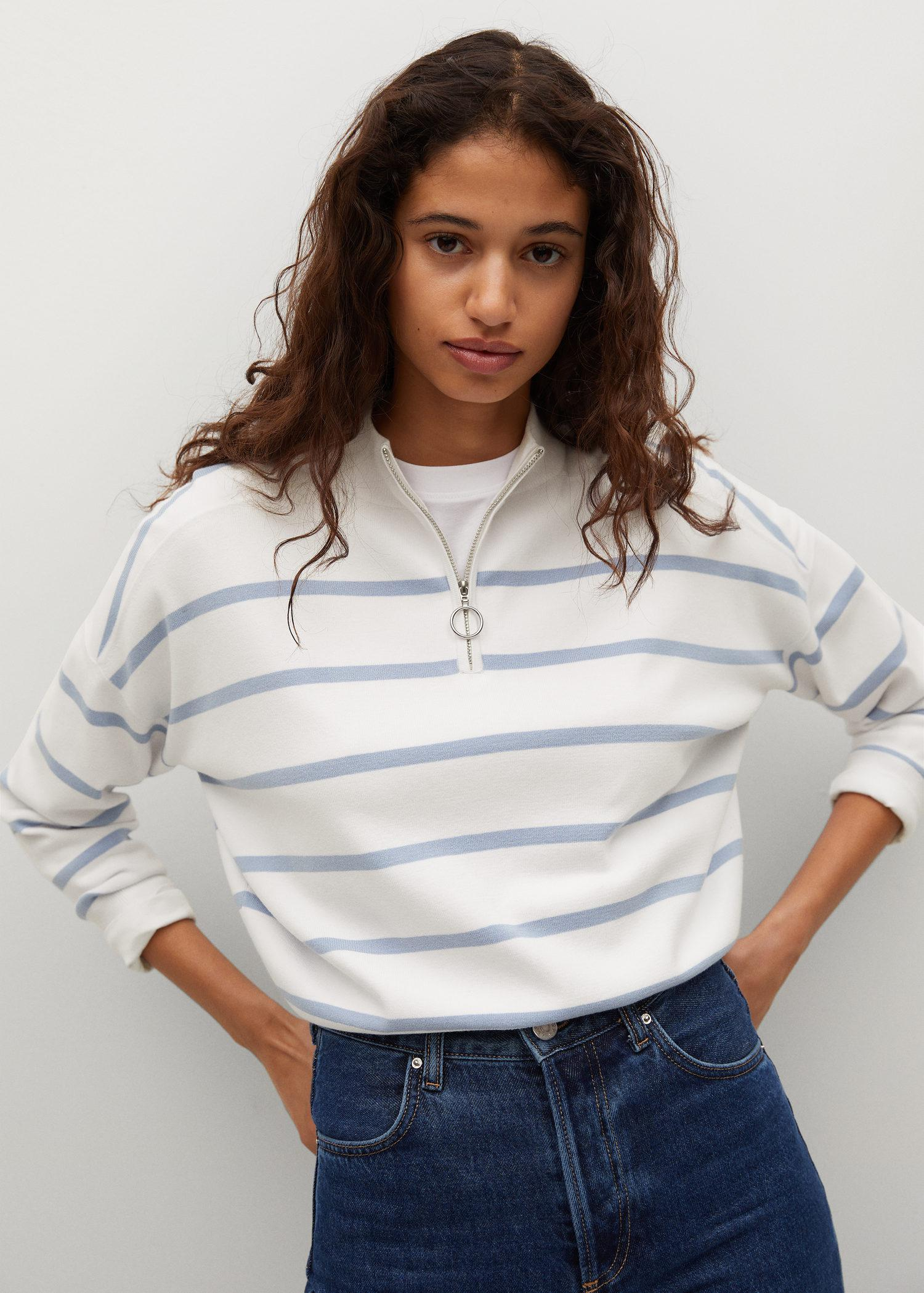 Striped sweater with zipper