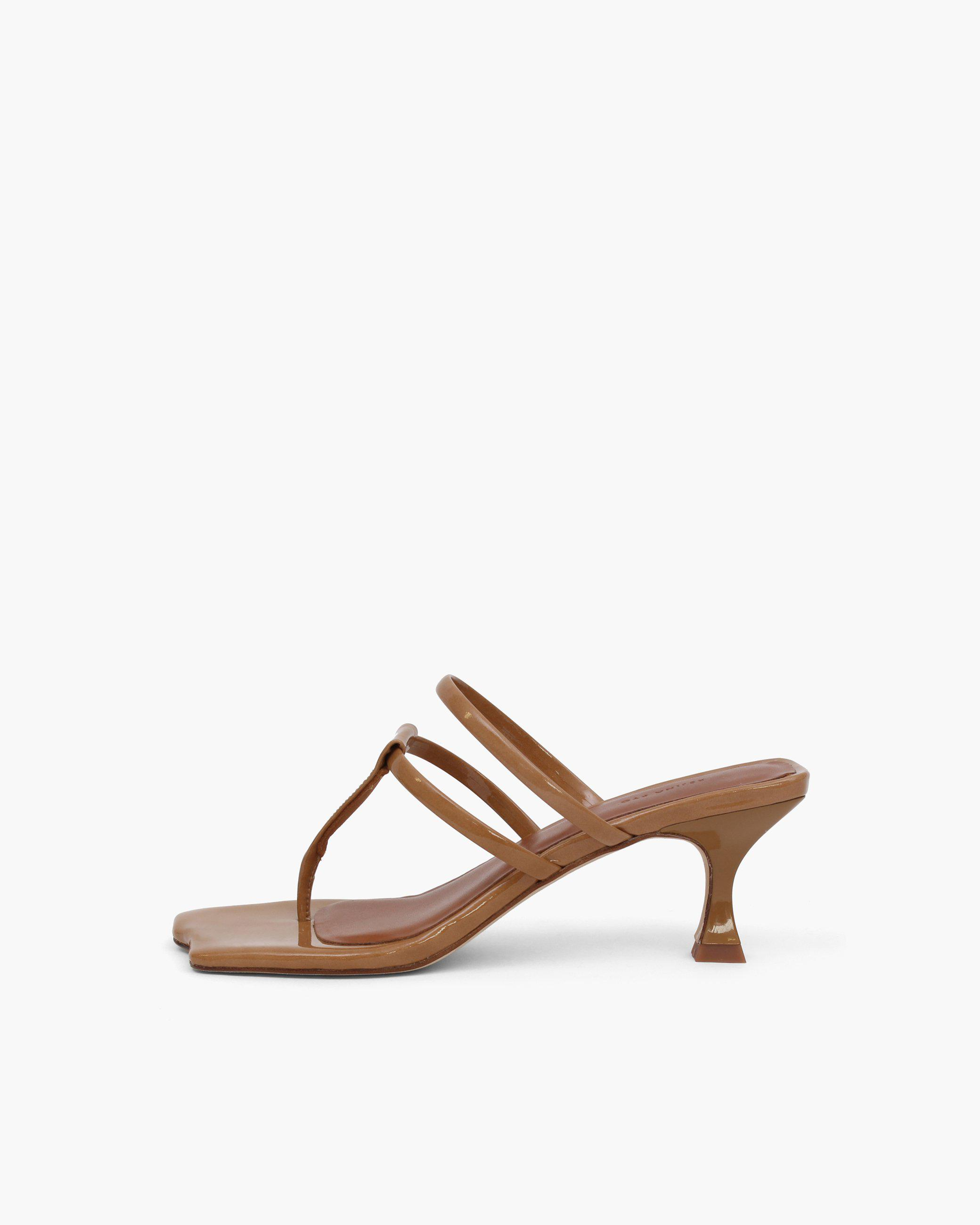 Allie Sandals Patent Leather Brown