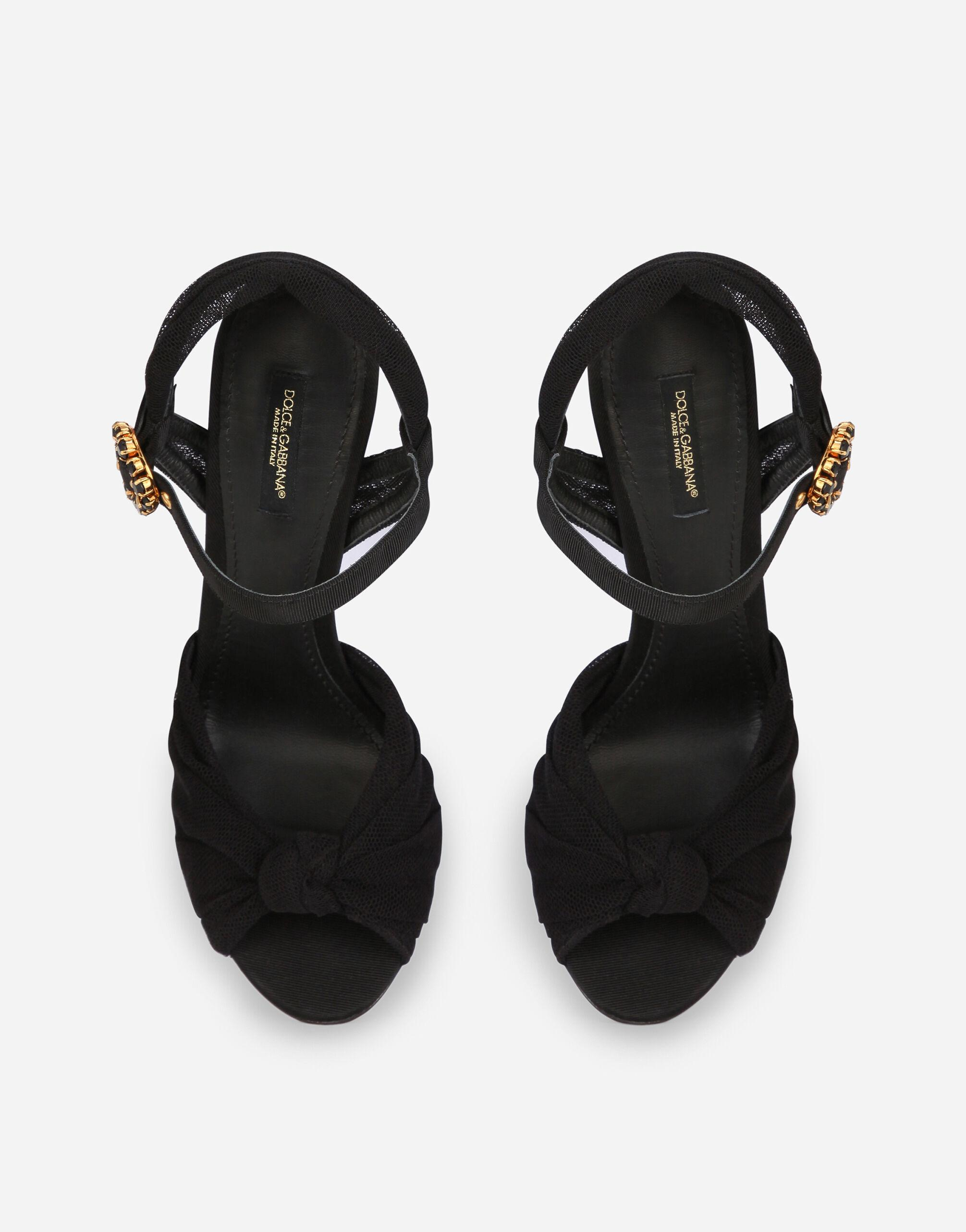 Tulle and gros-grain sandals with bejeweled buckle 3