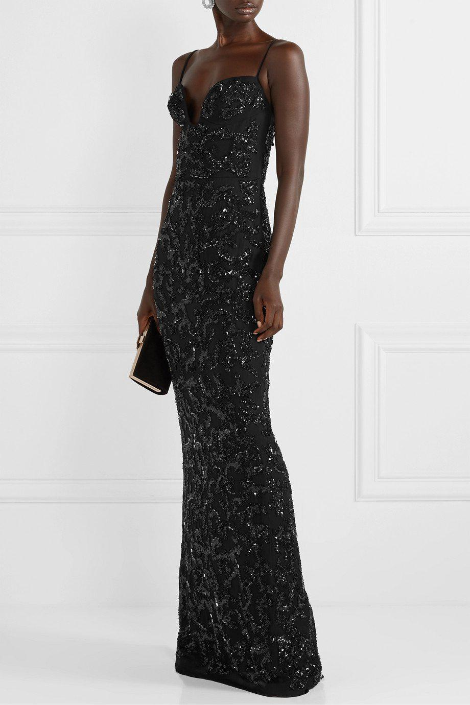 PLUNGE NECK EMBROIDERED GOWN