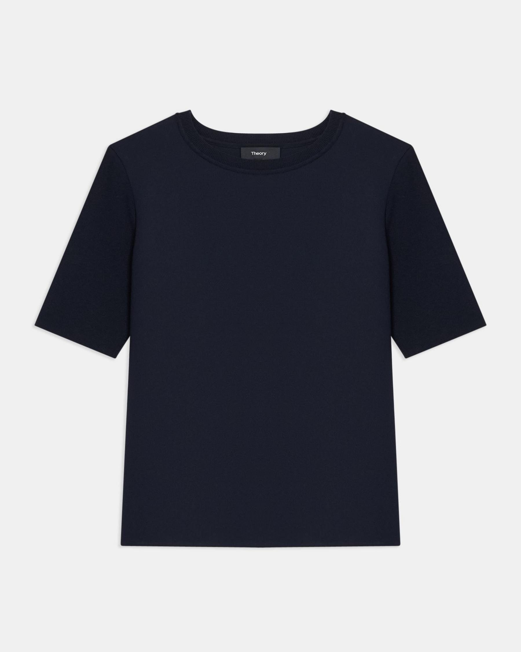 Short-Sleeve Top in Ribbed Crepe 4