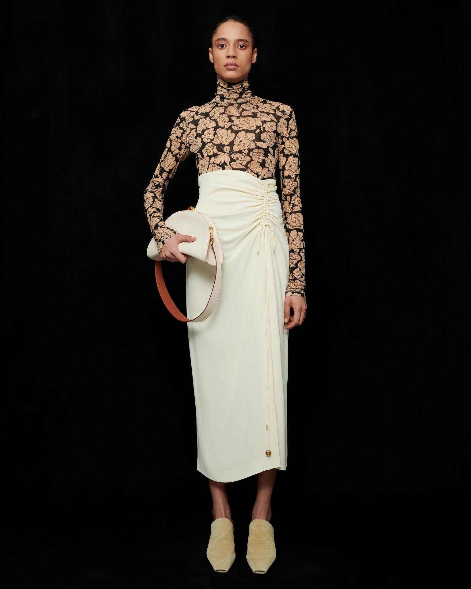 MALORIE - Georgette skirt - Creme