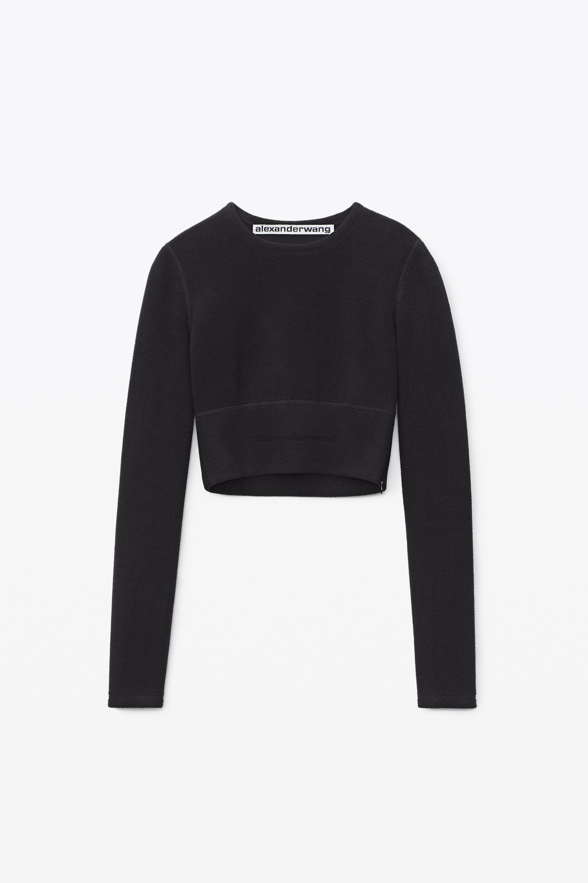 long-sleeve crewneck top in thermo stretch knit 1
