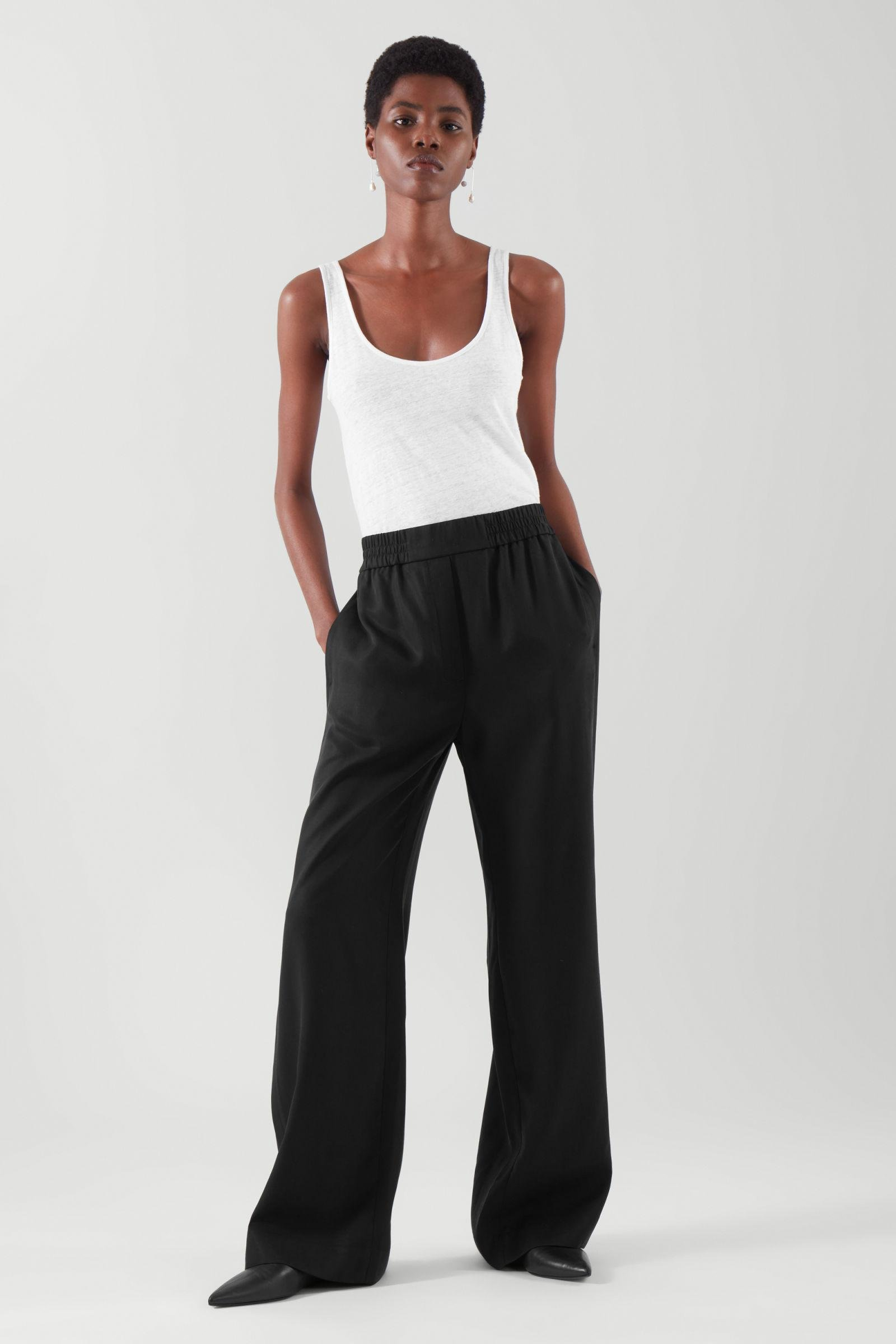 ELASTICATED RELAXED-LEG TROUSERS