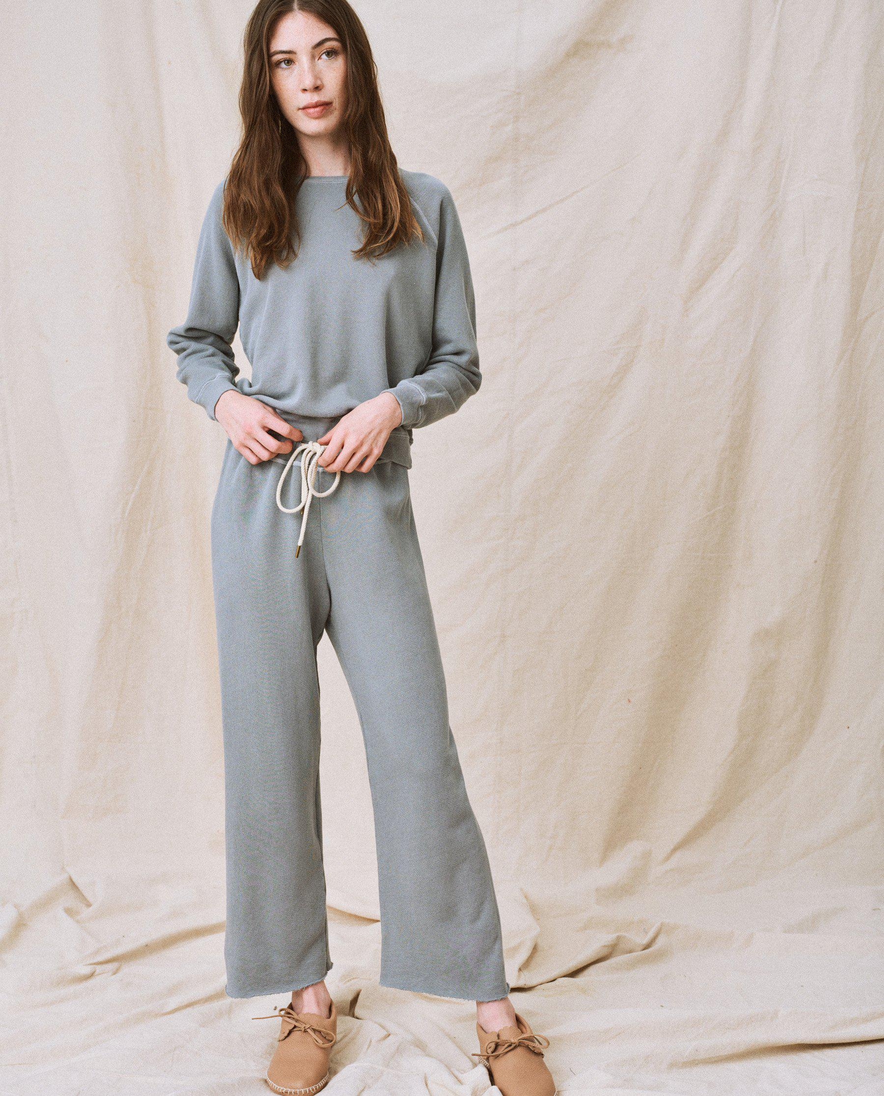 The Wide Leg Cropped Sweatpant. -- Dusty Blue 1