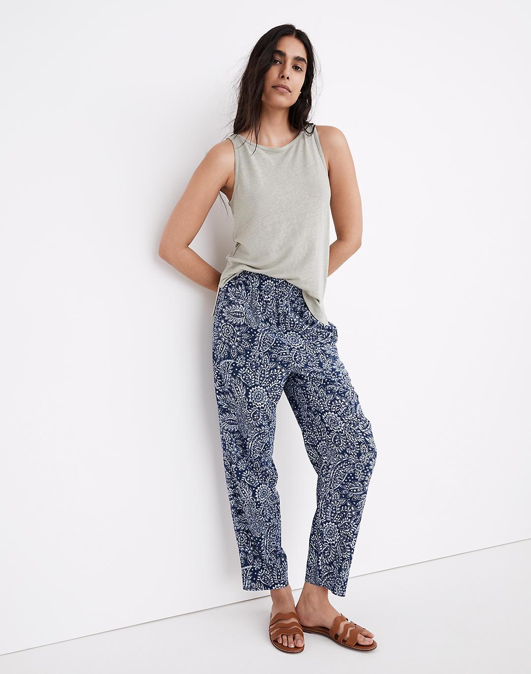 Tapered Huston Pull-On Crop Pants in Paisley Garden